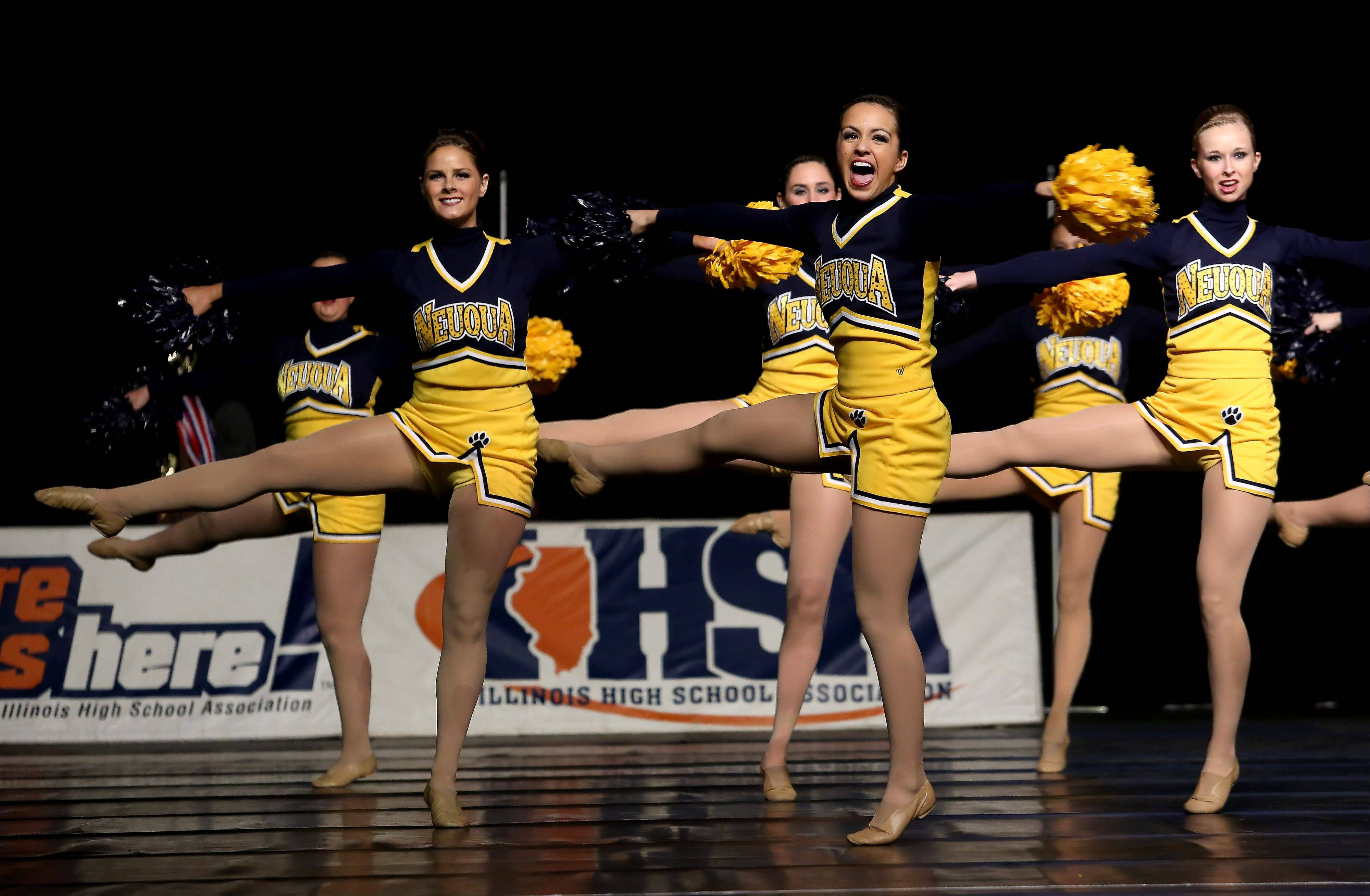 Neuqua Valley High School takes the floor in the state dance preliminaries on Friday in Bloomington. Neuqua advanced to the Division 3A finals.