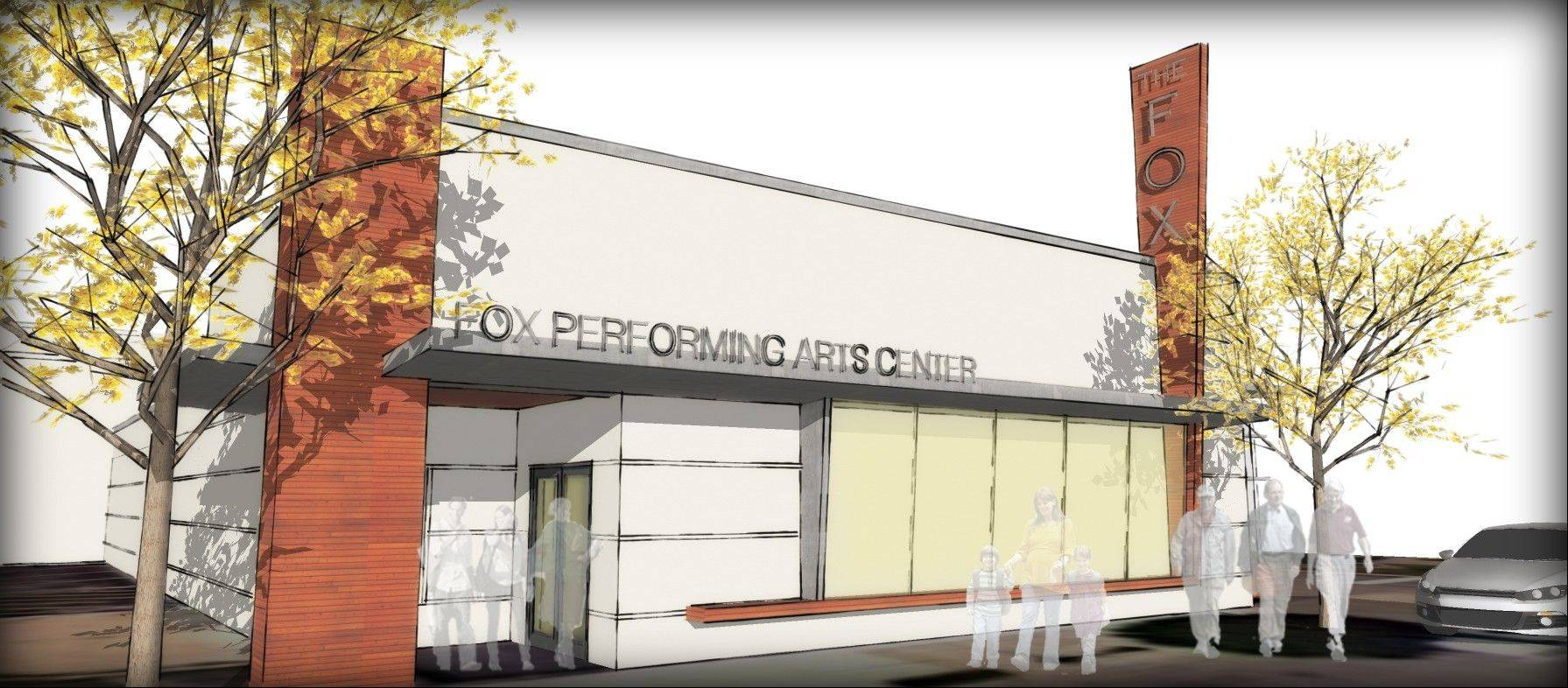 A rendering of what the old Ziegler�s Ace Hardware store in downtown West Dundee would look like if it�s converted into the Fox Performing Arts Center.