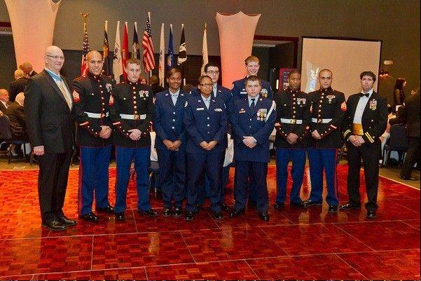 At the Hearts Of Valor Ball, active military members are always among the guests of honor. Here they are in 2012.