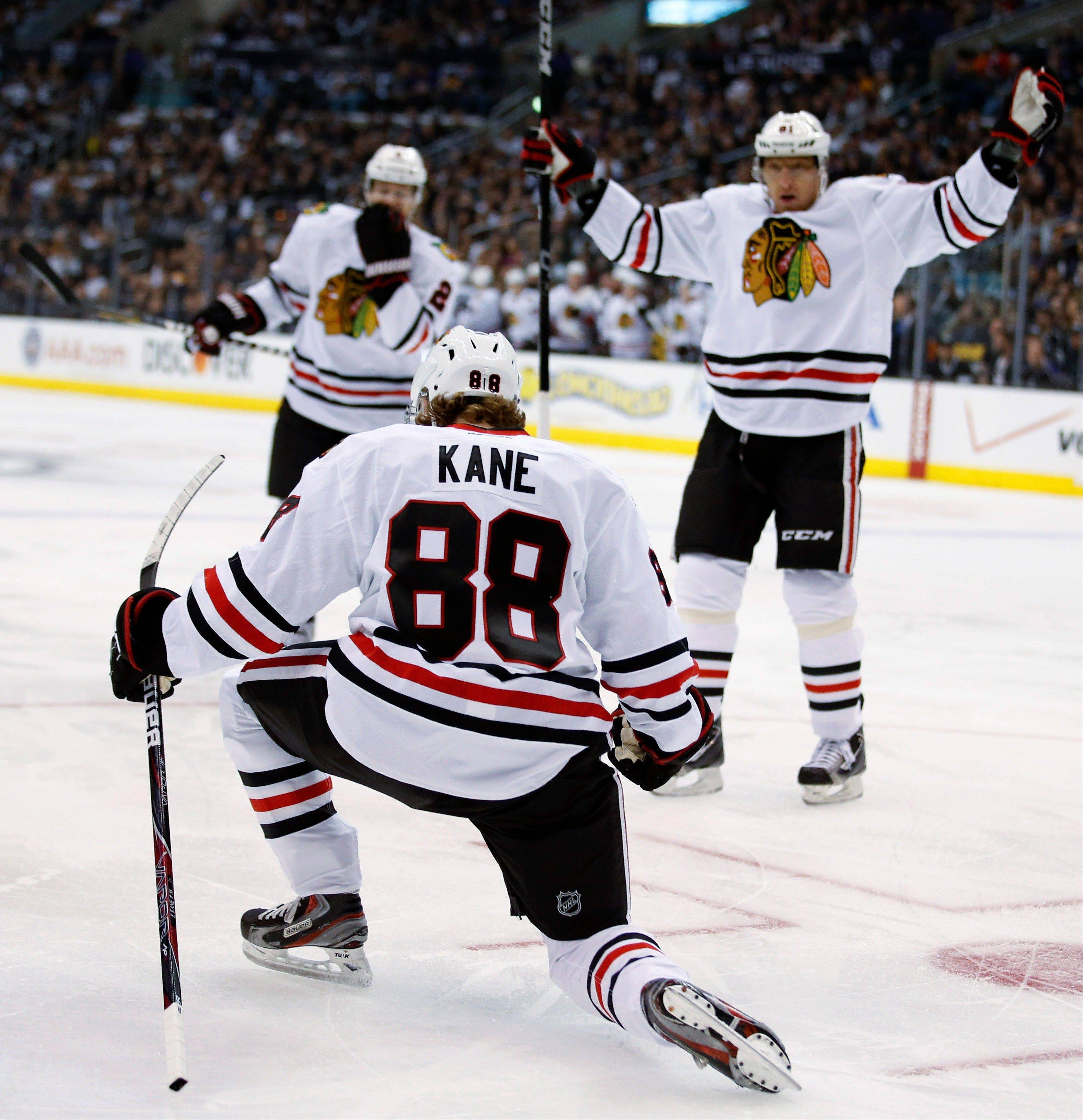Winger Patrick Kane (88), has 7 points in the first four NHL games for the Blackhawks.