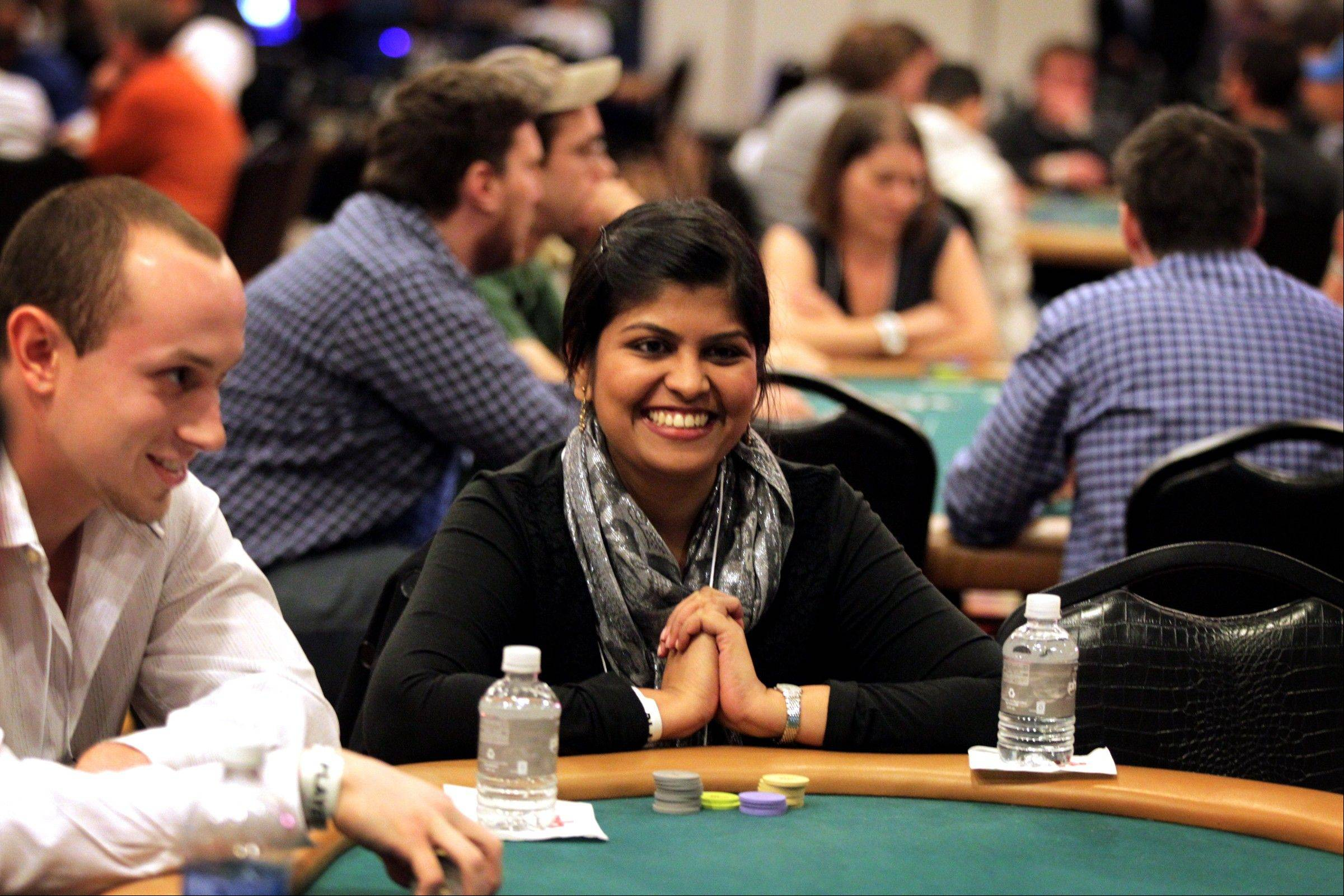 Rajashree Todmal of Carnegie Mellon University plays poker during the MBA Poker Championship and Recruitment Weekend at Planet Hollywood in Las Vegas.
