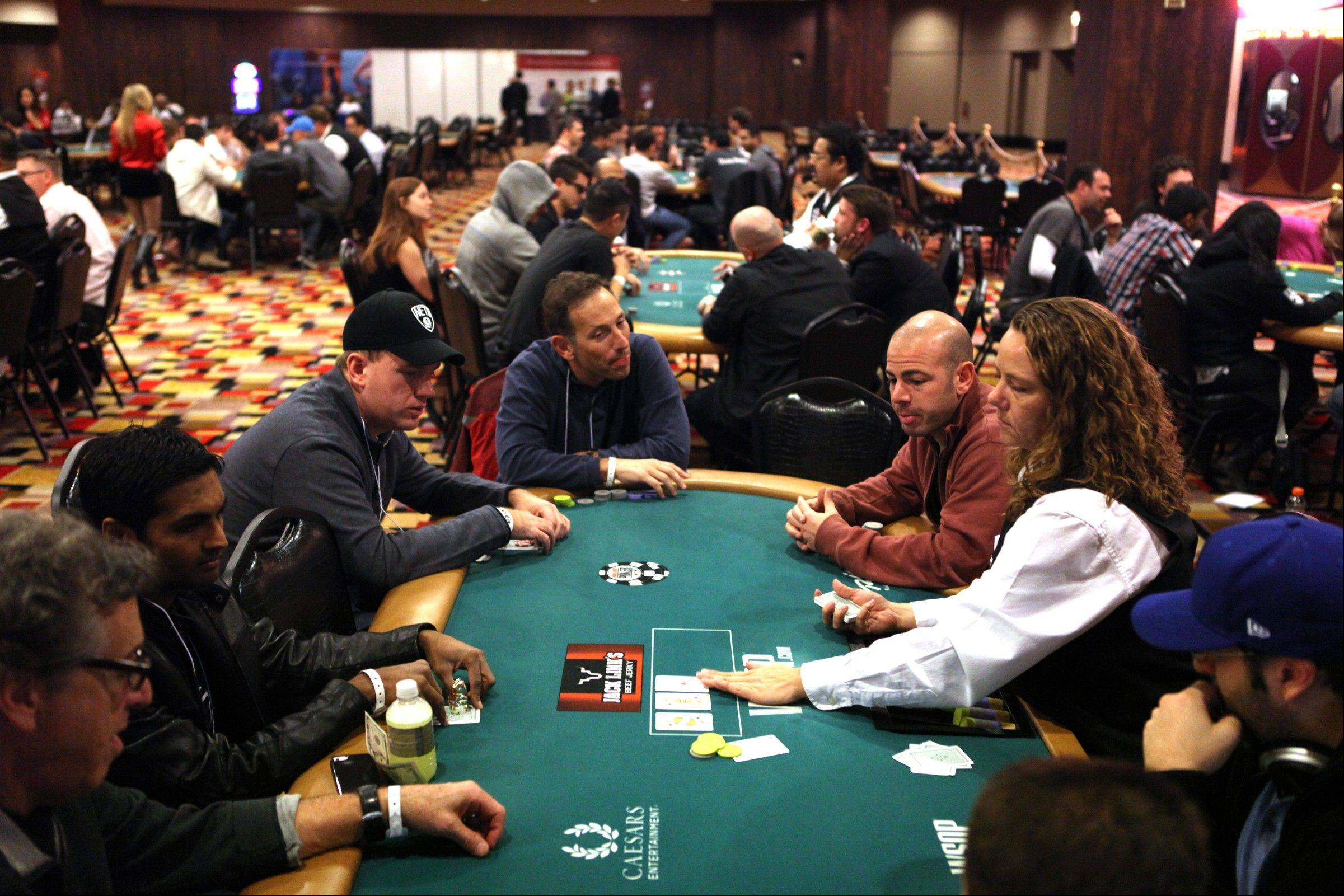 Recruits play poker during the MBA Poker Championship and Recruitment Weekend at Planet Hollywood in Las Vegas.
