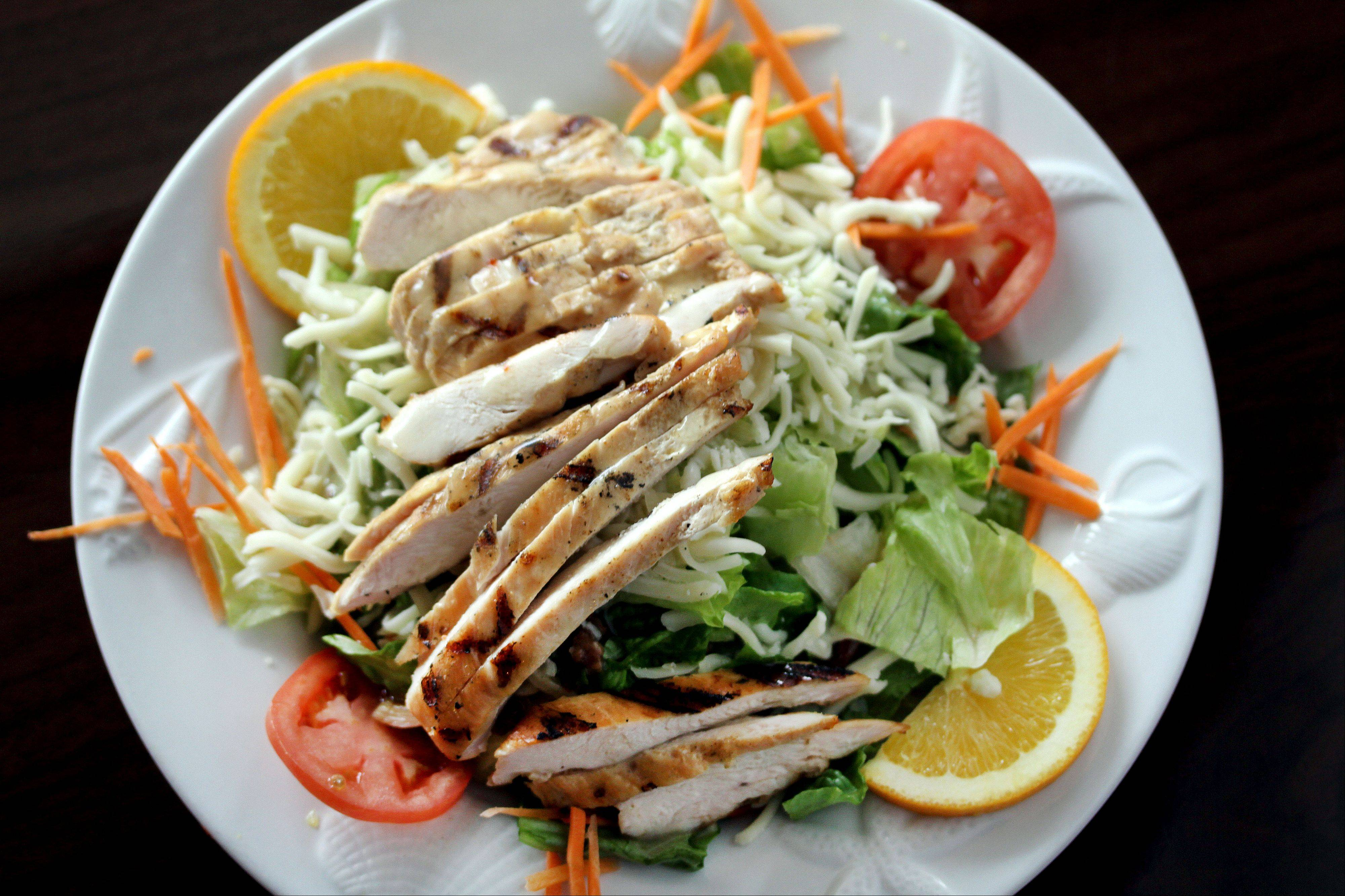 Mango Chicken Salad comes with a fruity vinaigrette at Bacchus Nibbles in Lake Zurich.