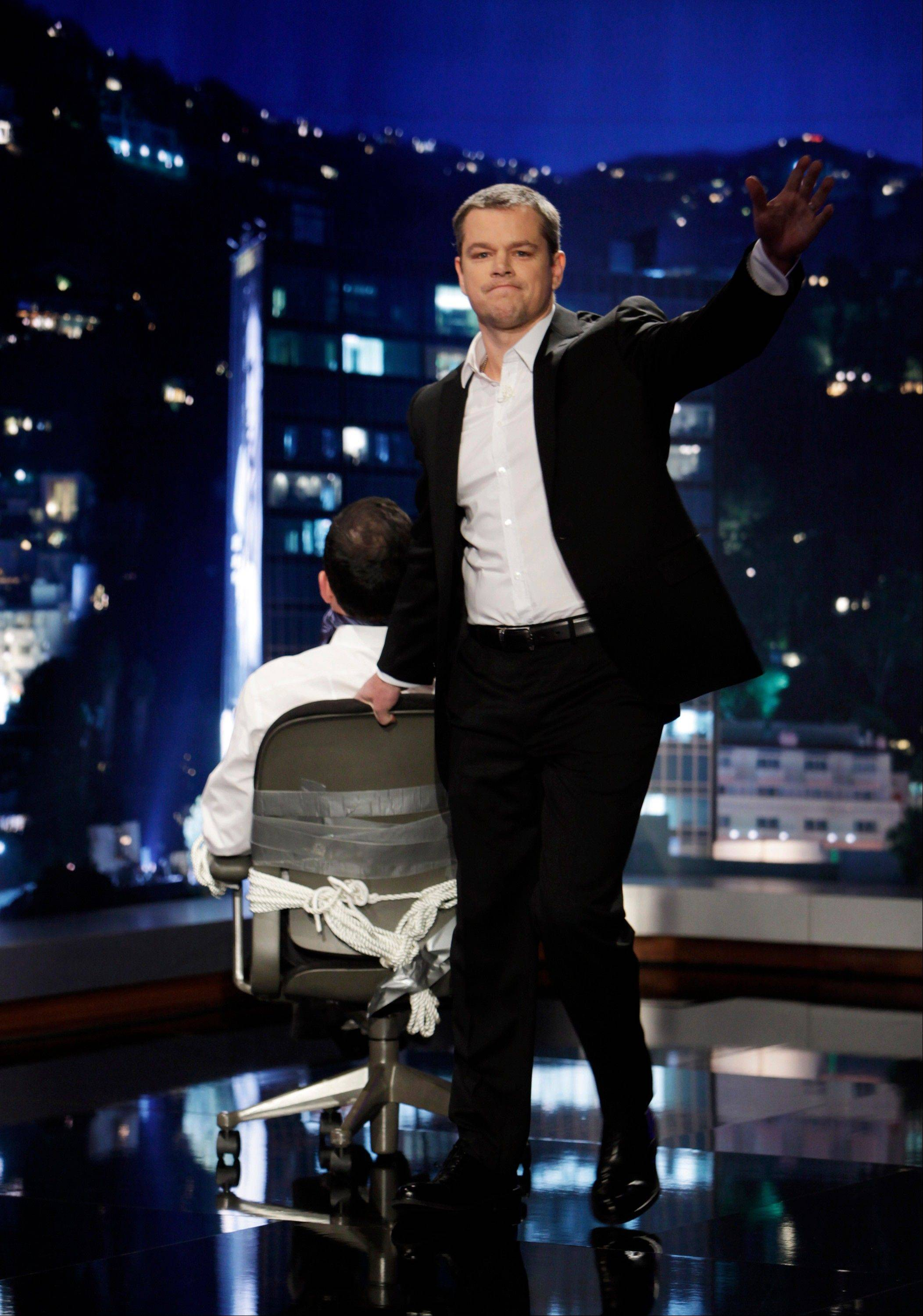 "Matt Damon hosted ""Jimmy Kimmel Live"" Thursday after opening the show as a kidnapper, tying Kimmel, seated, to a chair with duct tape and gagging him with his own tie."