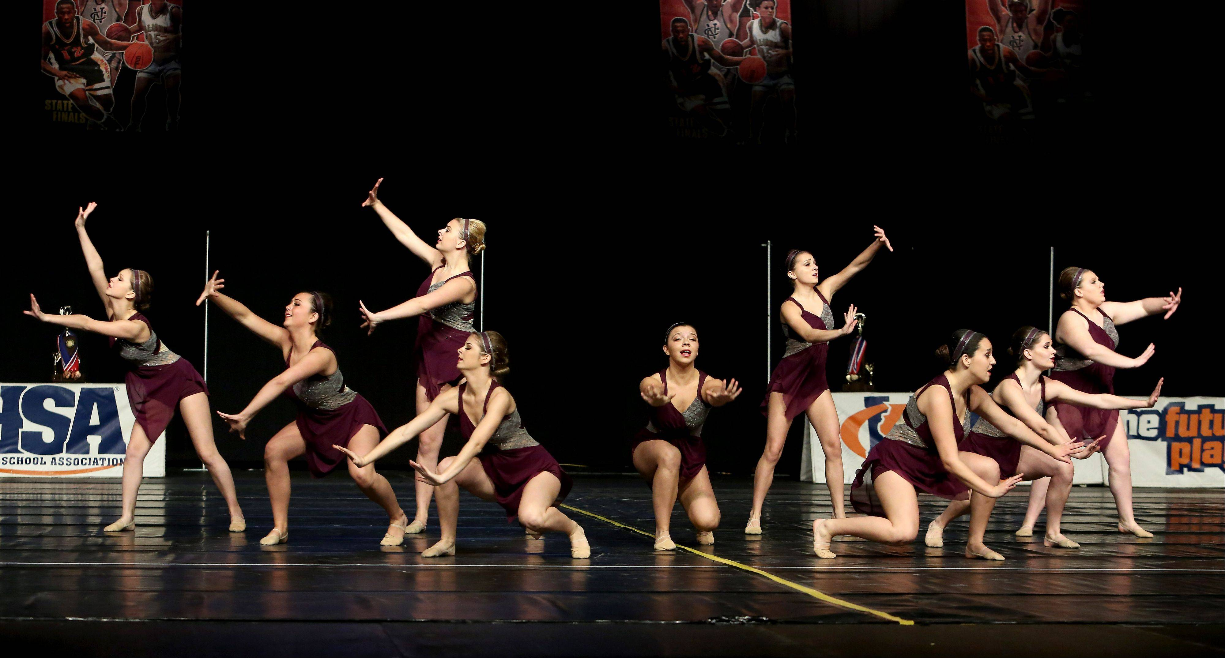 The Larkin High School dance team perform their rotine in the 3A division of the Competitive Dance State Finals on Saturday in Bloomington.