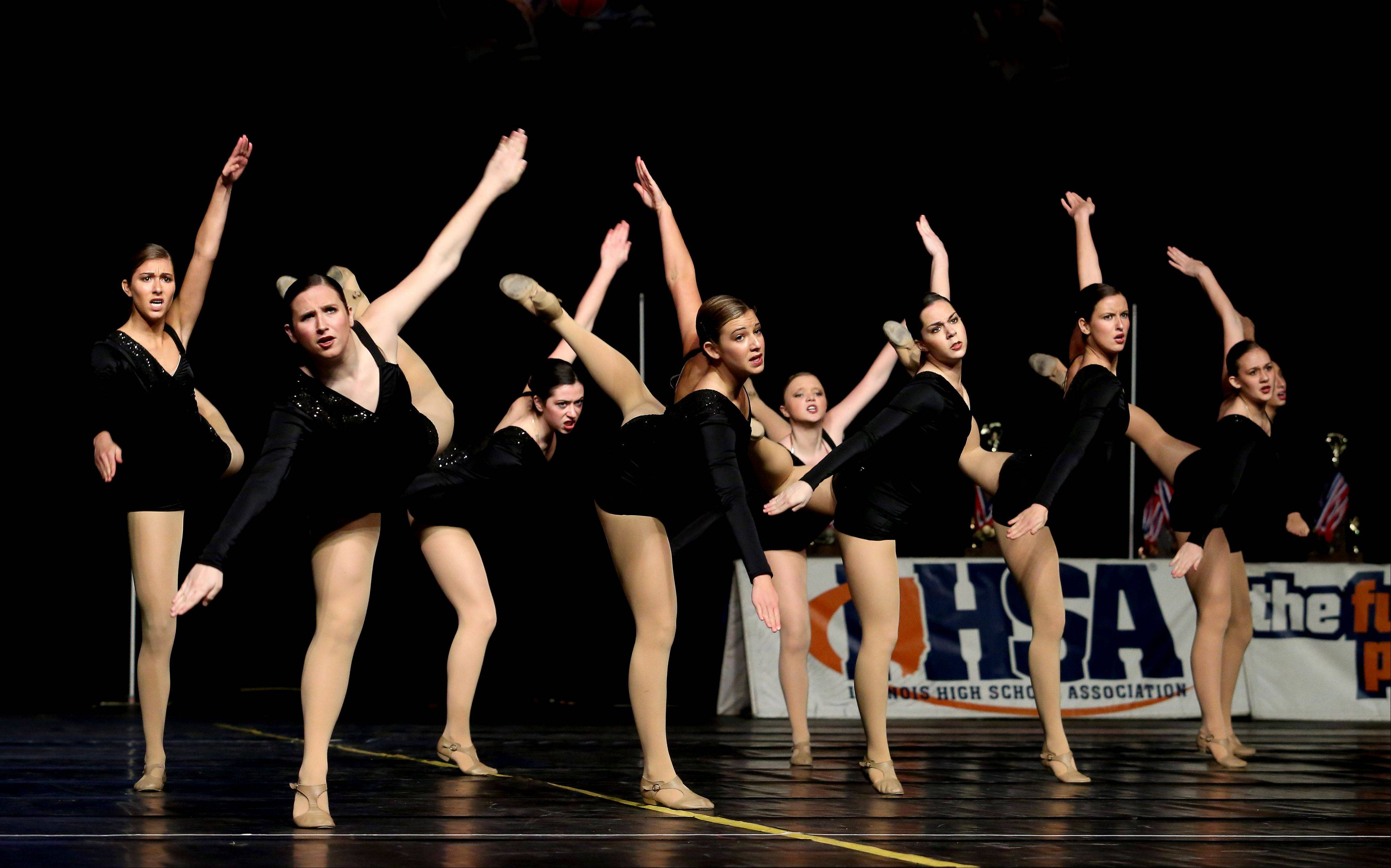 Stevenson High School competes in the state dance preliminaries on Friday in Bloomington. The Lincolnshire school advanced to the Division 3A finals.