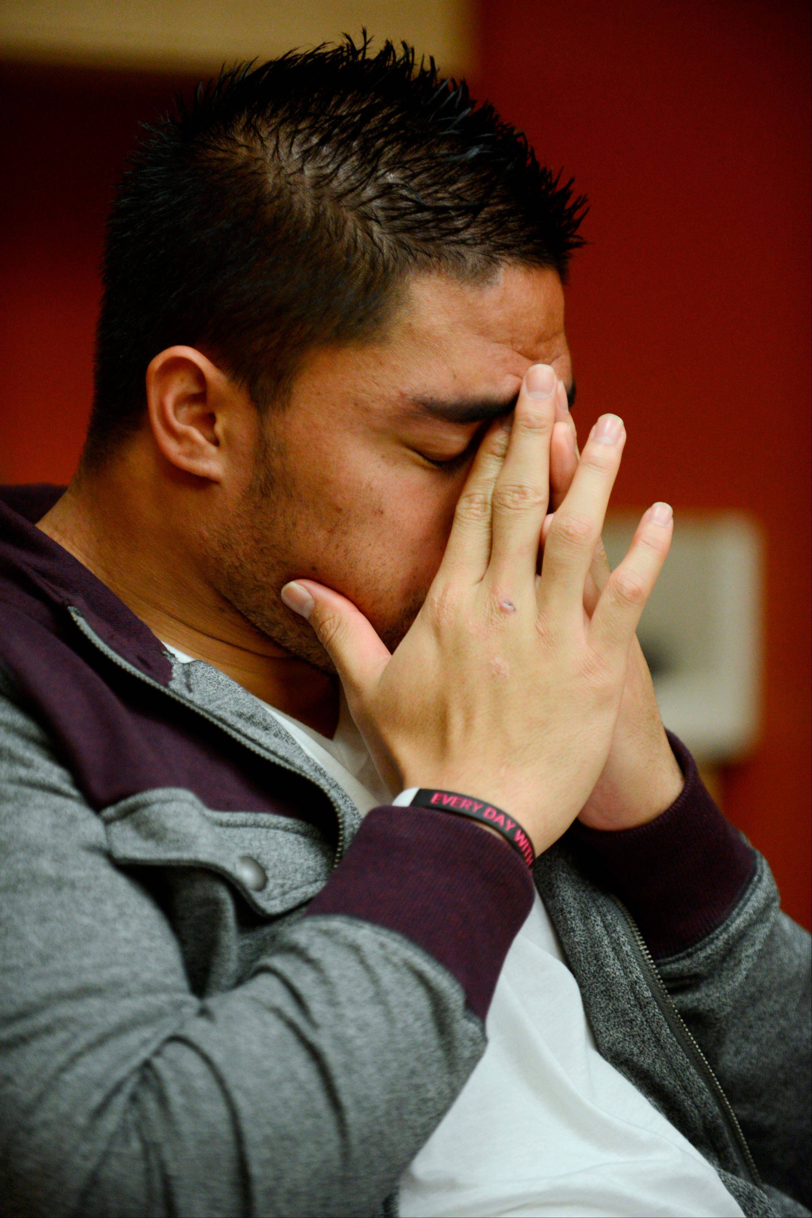 Notre Dame linebacker Manti Te'o pauses during an interview with ESPN on Jan. 18. Te'o maintains he was never involved in creating the dead girlfriend hoax.