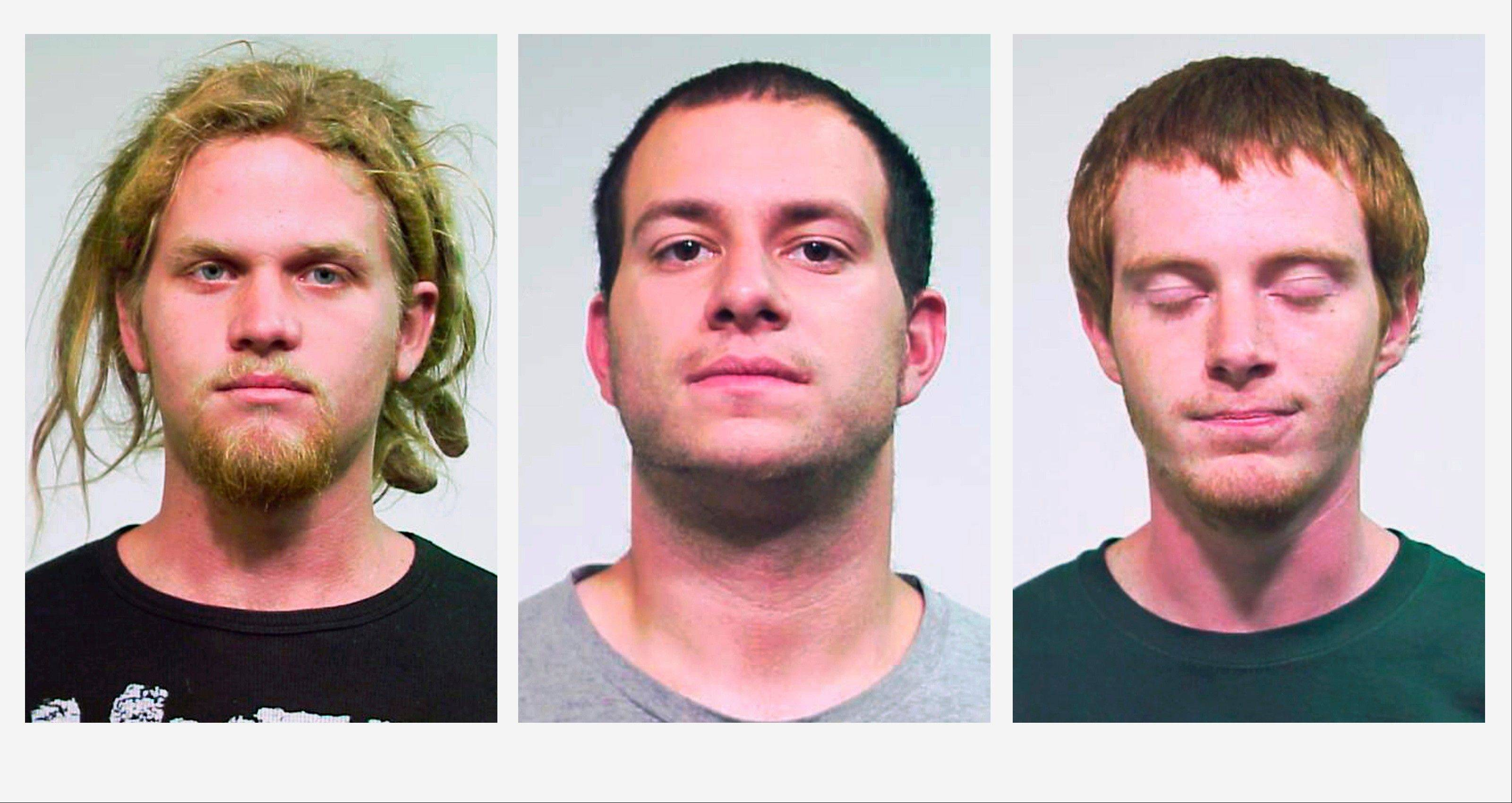 Brent Vincent Betterly, 24, of Oakland Park, Fla., Jared Chase, 24, of Keene, N.H., and Brian Church, 20, of Fort Lauderdale, Fla., are accused of plotting Molotov cocktail attacks during last year's NATO summit in Chicago.