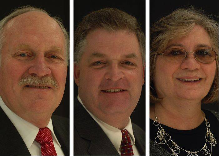 Wally Frasier, left, Steve Lentz and Robin Meier are running for mayor in Mundelein.
