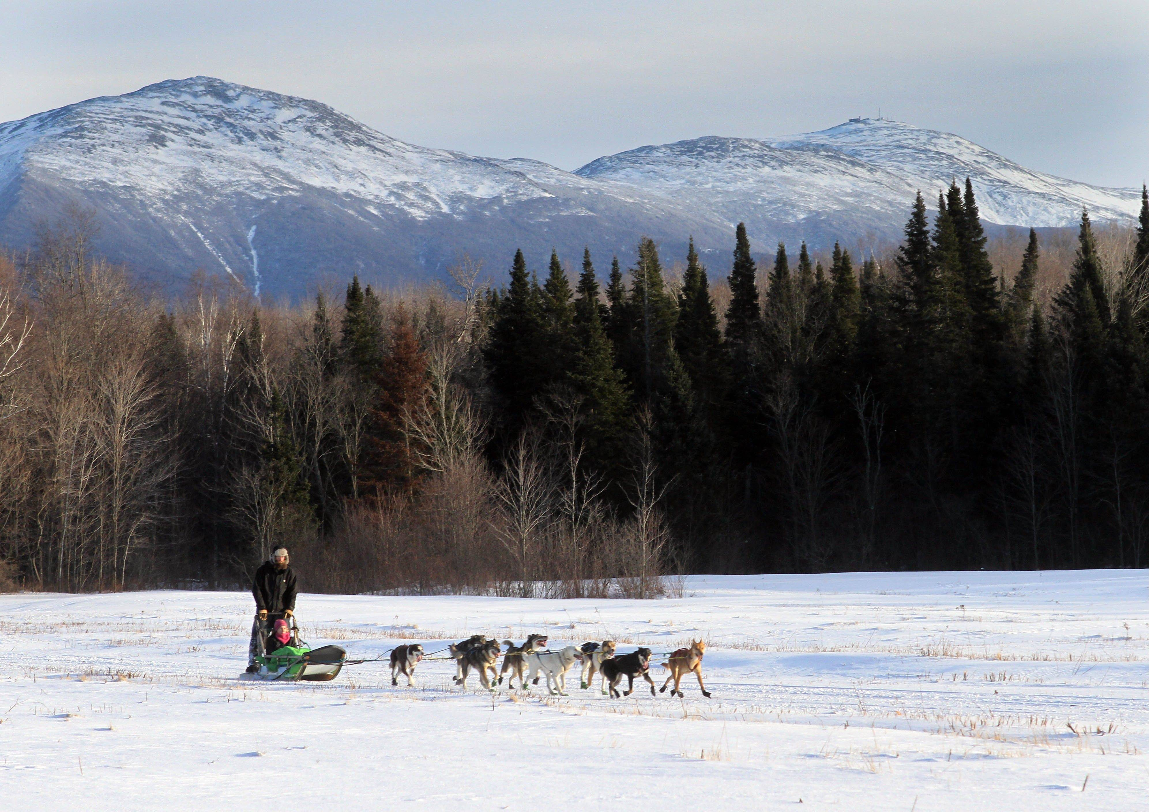 "Ben Morehouse guides a team of sled dogs, including a blind dog Gonzo and his brother Poncho through a field below the Presidential Range in the White Mountains in Jefferson, N.H. The Muddy Paw Sled Dog Kennel takes in rescues and ""second-chance"" dogs and is also home to a blind dog that relies on his brother to keep up with the rest of the team."