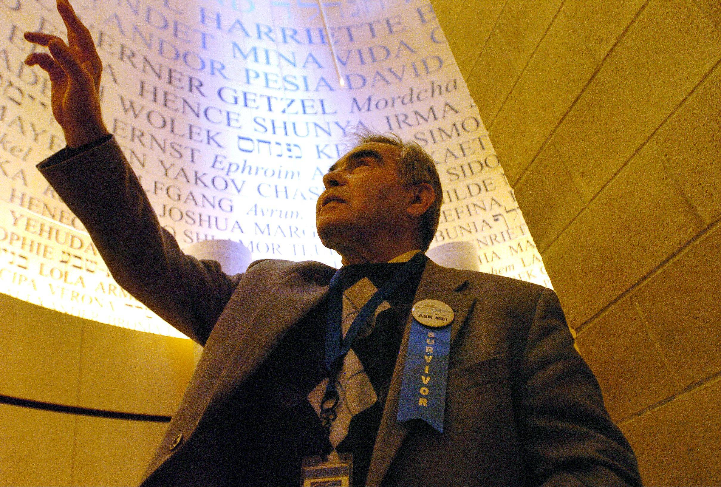Holocaust survivor Adam Paluch of Mundelein in the Room Of Remembrance at the Illinois Holocaust Museum & Education Center, which pays homage to the six million Jews and millions of others murdered during the Holocaust.