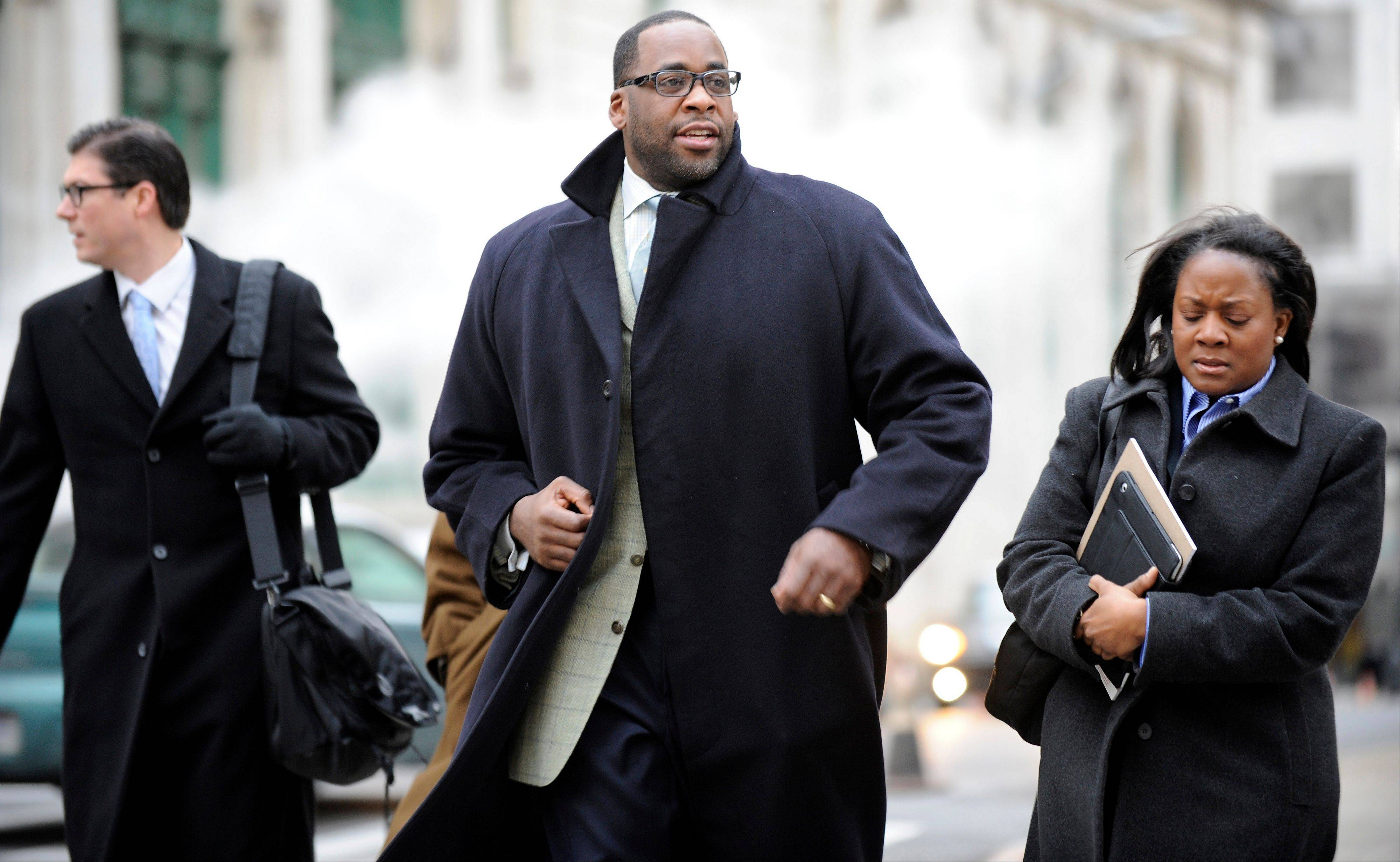 Former Detroit Mayor Kwame Kilpatrick will spend this weekend in prison as a penalty for 14 parole violations, a state spokesman said Friday, Jan. 25, 2013. Kilpatrick is to report to the Detroit Reentry Center Friday afternoon and will be released from custody early Monday.