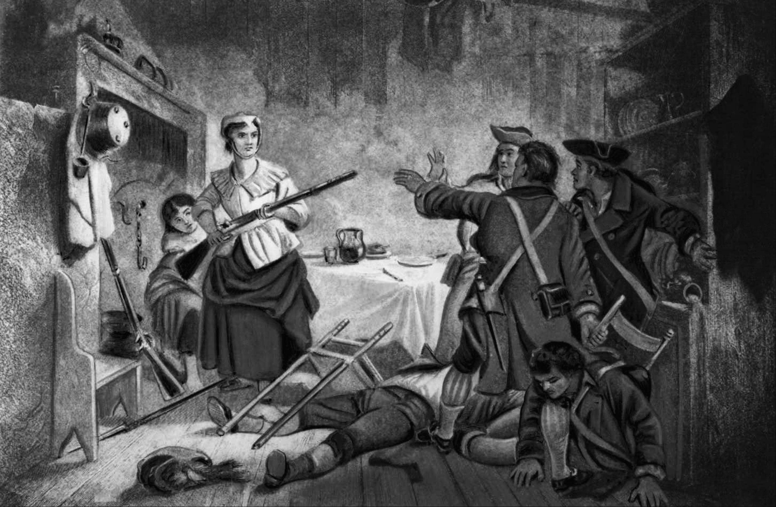 In this illustration, Nancy Morgan Hart, an American colonist living in Georgia, defends her home and children against invading British soldiers during the American Revolutionary War. According to legend, Hart captured and killed British soldiers during the war.