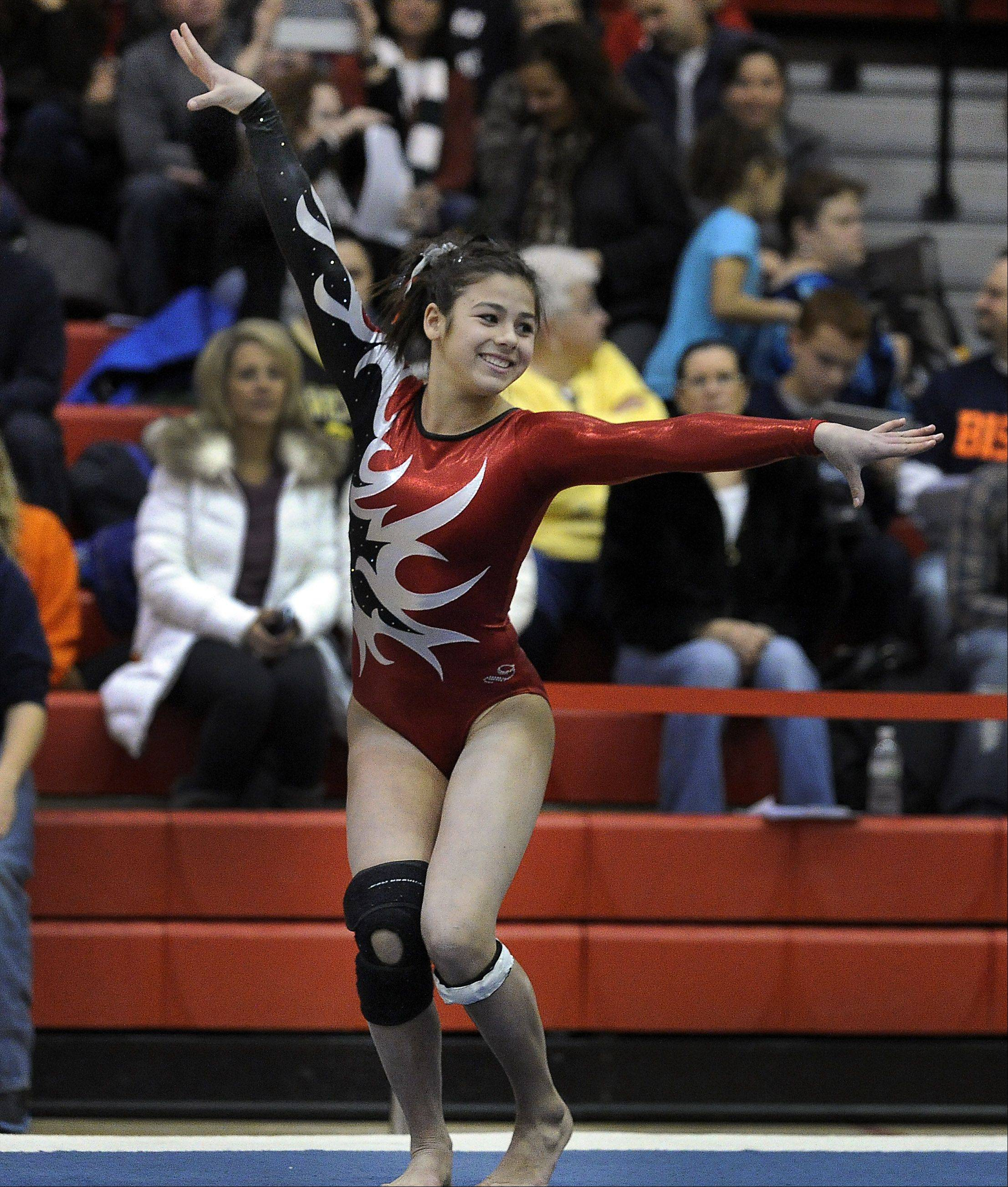 Barrington's Abby Hasanov on the floor exercise at the Mid-Suburban League meet at Palatine on Friday.