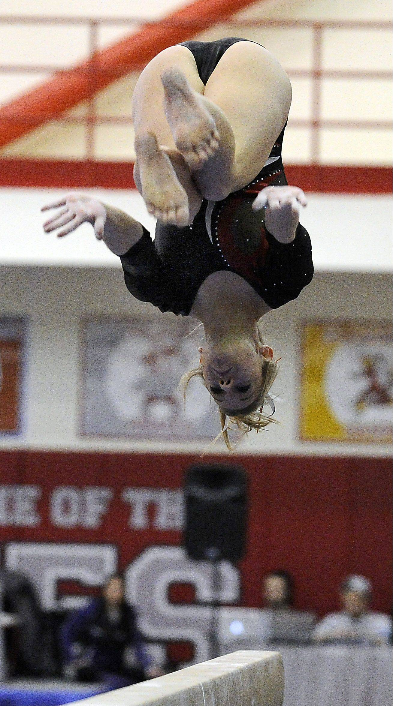 Palatine's Abby Alden on the balance beam at the Mid-Suburban League meet at Palatine on Friday.