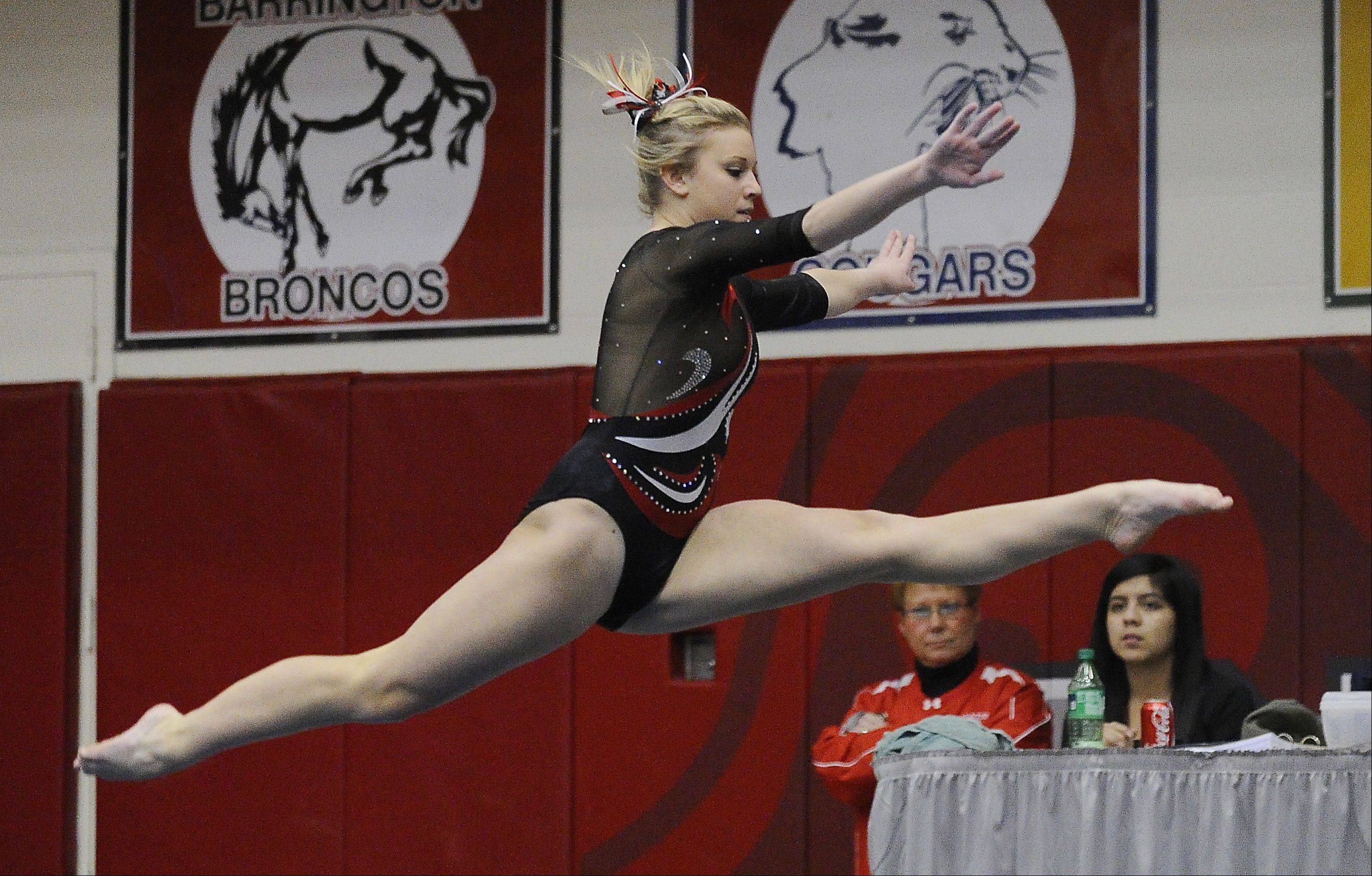 Palatine's Abby Alden on the floor exercise at the Mid-Suburban League meet at Palatine on Friday.