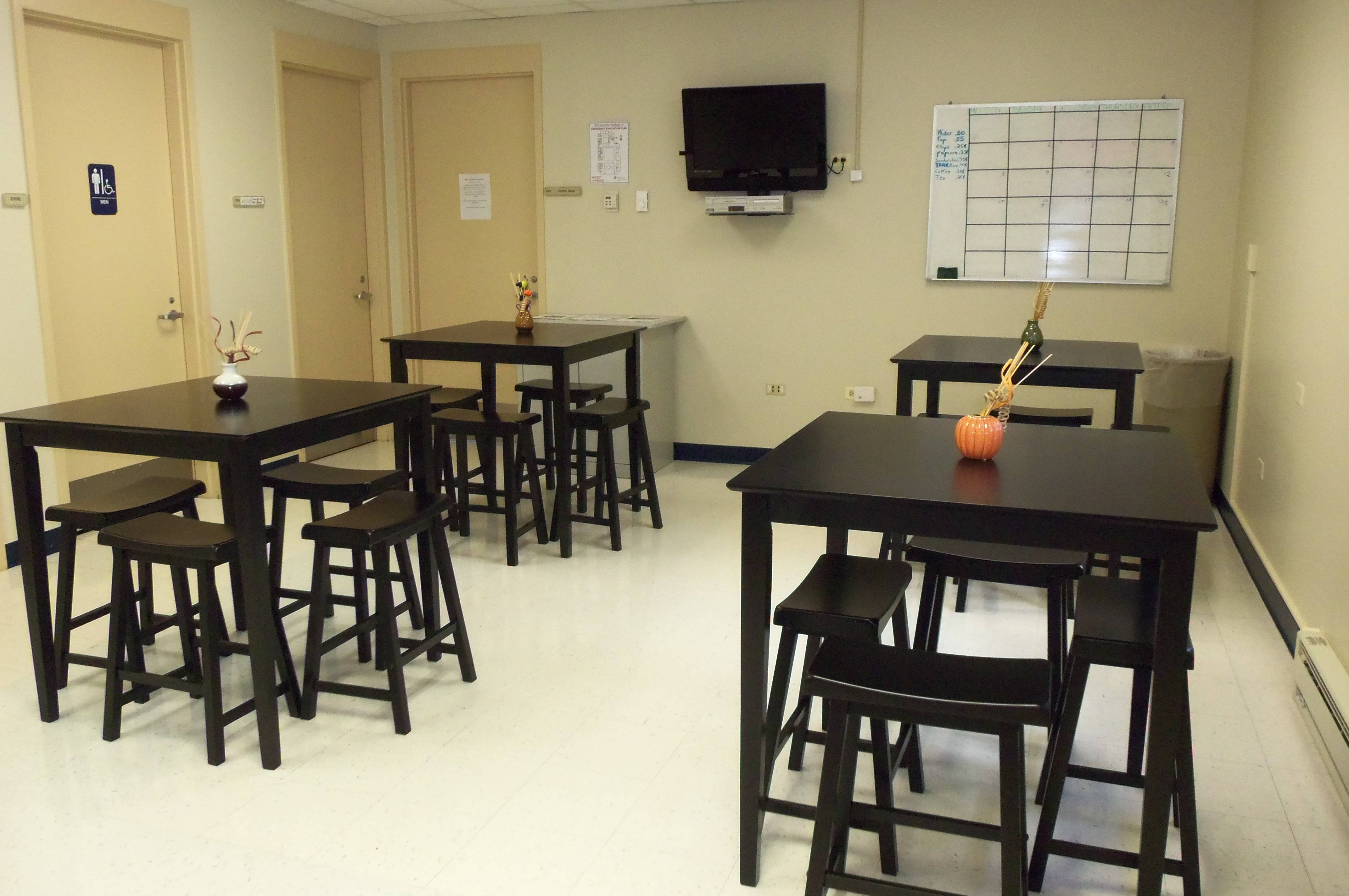 Individuals in the program can socialize in a coffee-shop setting created inside a facility located at the Health Department campus, 3010 Grand Avenue, in Waukegan.