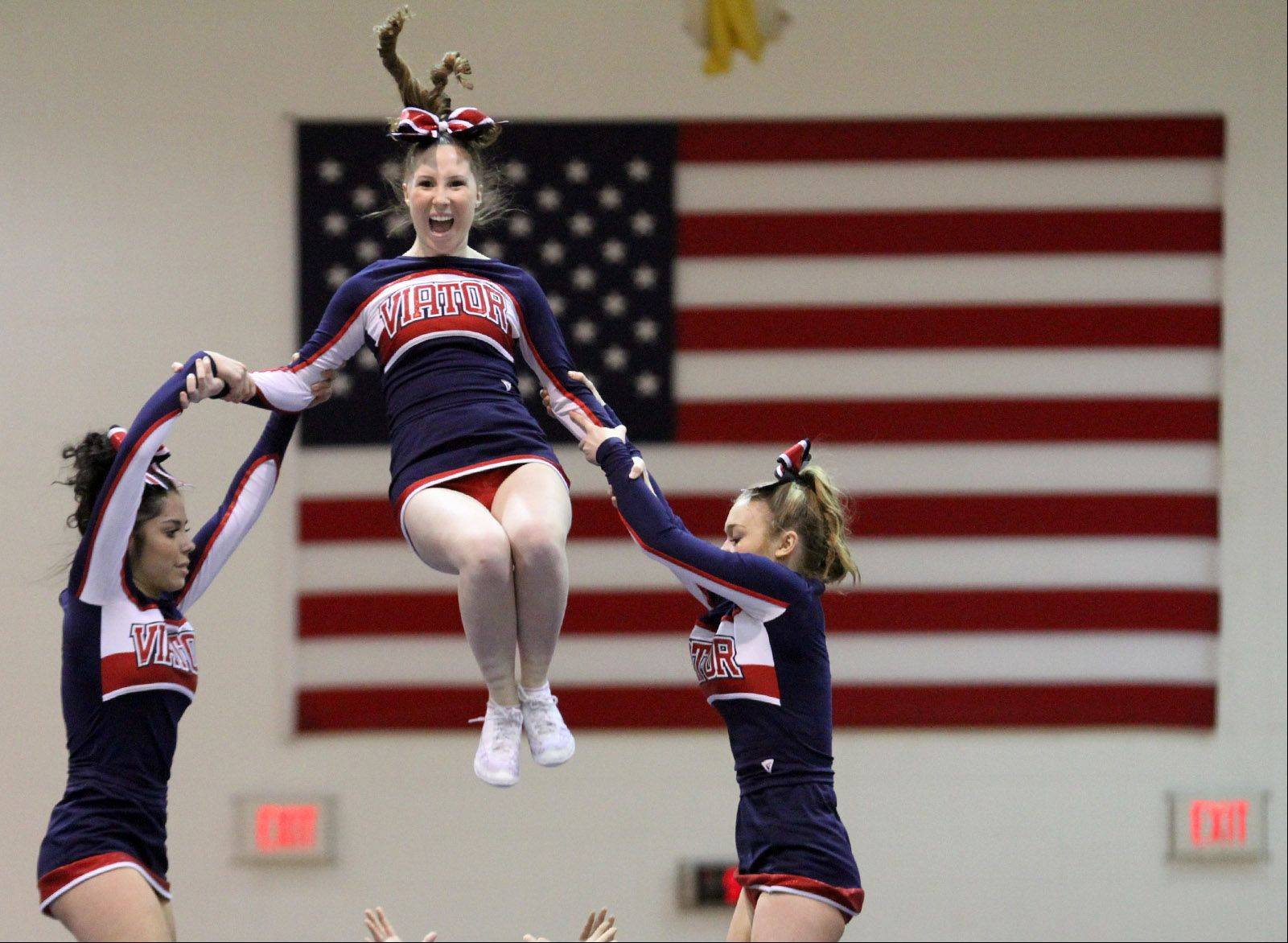 The St. Viator High School cheerleading team performed at the IHSA competitive cheerleading sectionals held Saturday at Rolling Meadows High School.