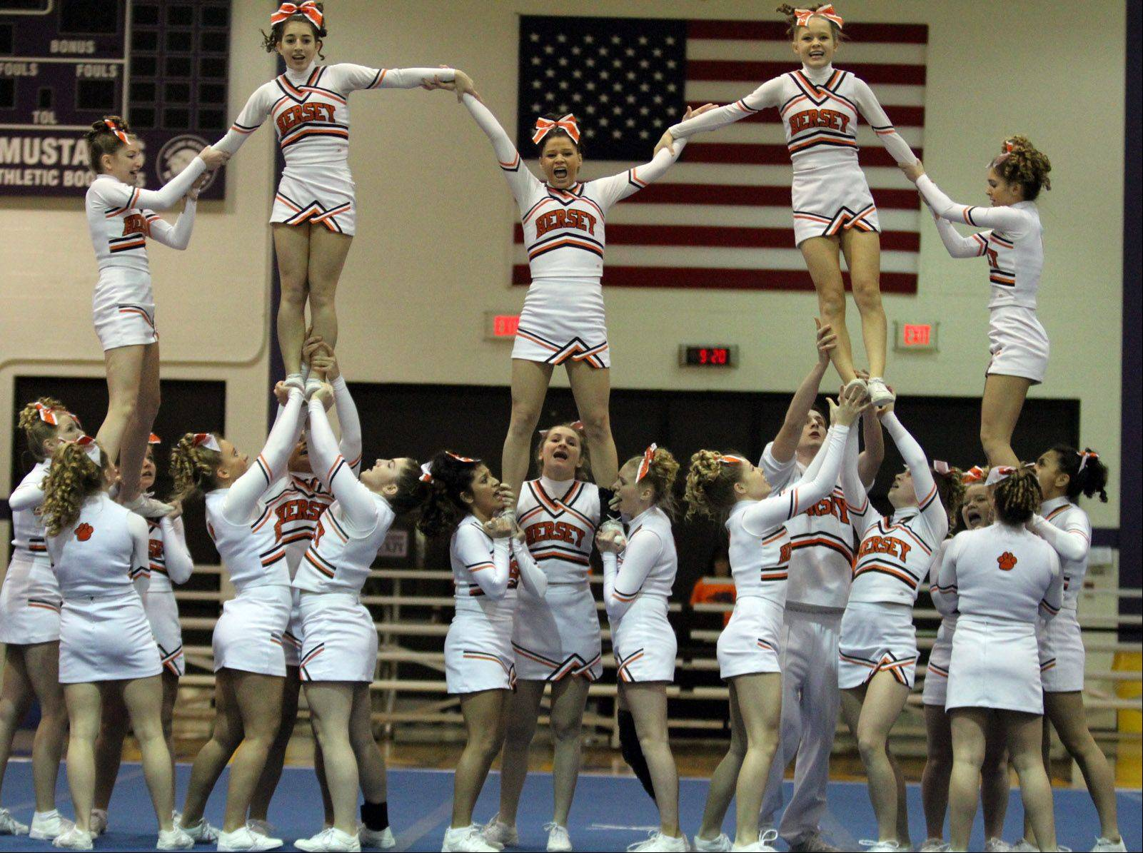 Hersey High School performs at the IHSA competitive cheerleading sectionals in Rolling Meadows on Saturday.