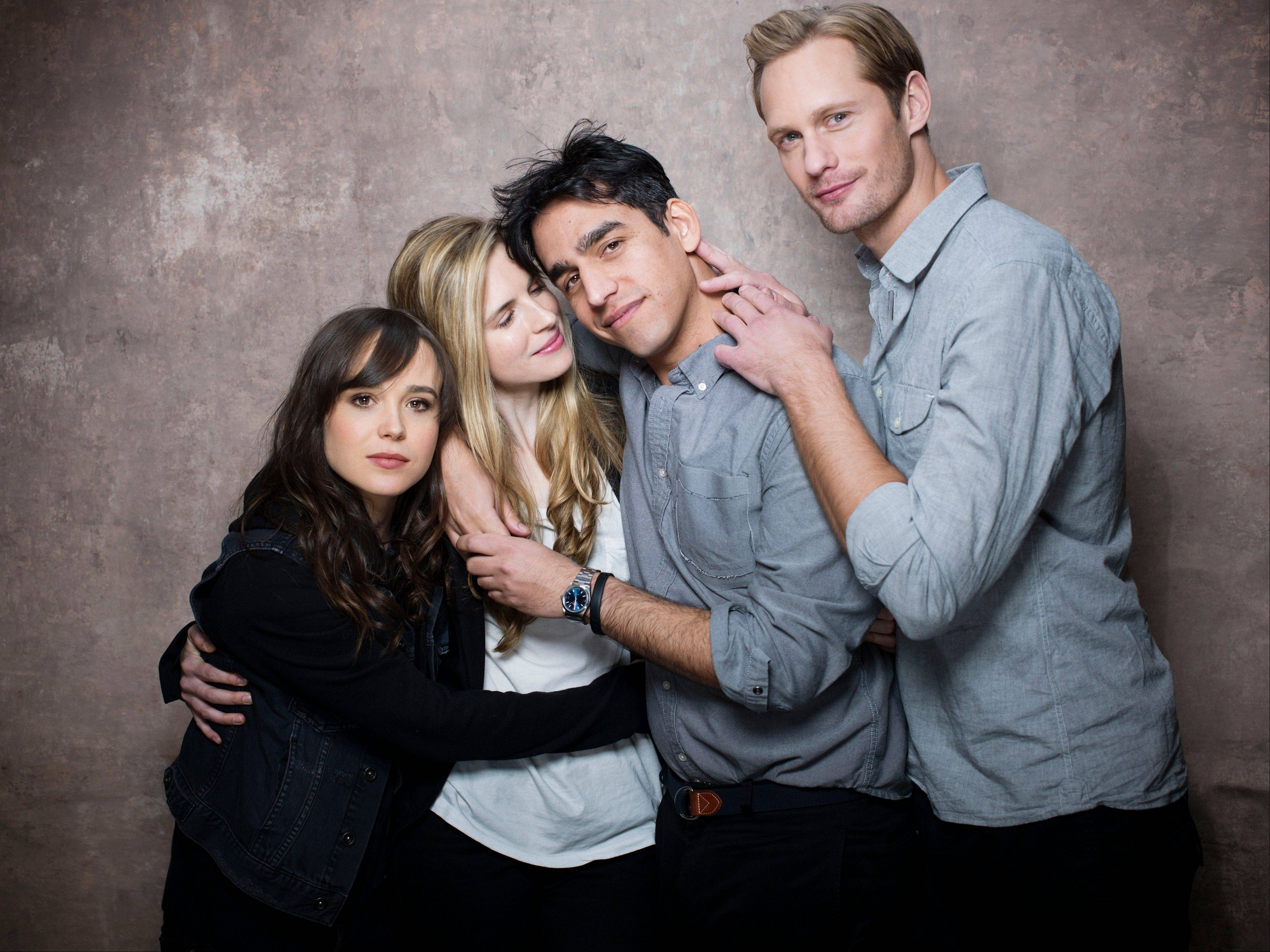 "From left, actresses Ellen Page, Brit Marling, director Zal Batmanglij and actor Alexander Skarsgard, from the film ""The East"" pose for a portrait during the 2013 Sundance Film Festival on Sunday, Jan. 20, 2013 in Park City, Utah."