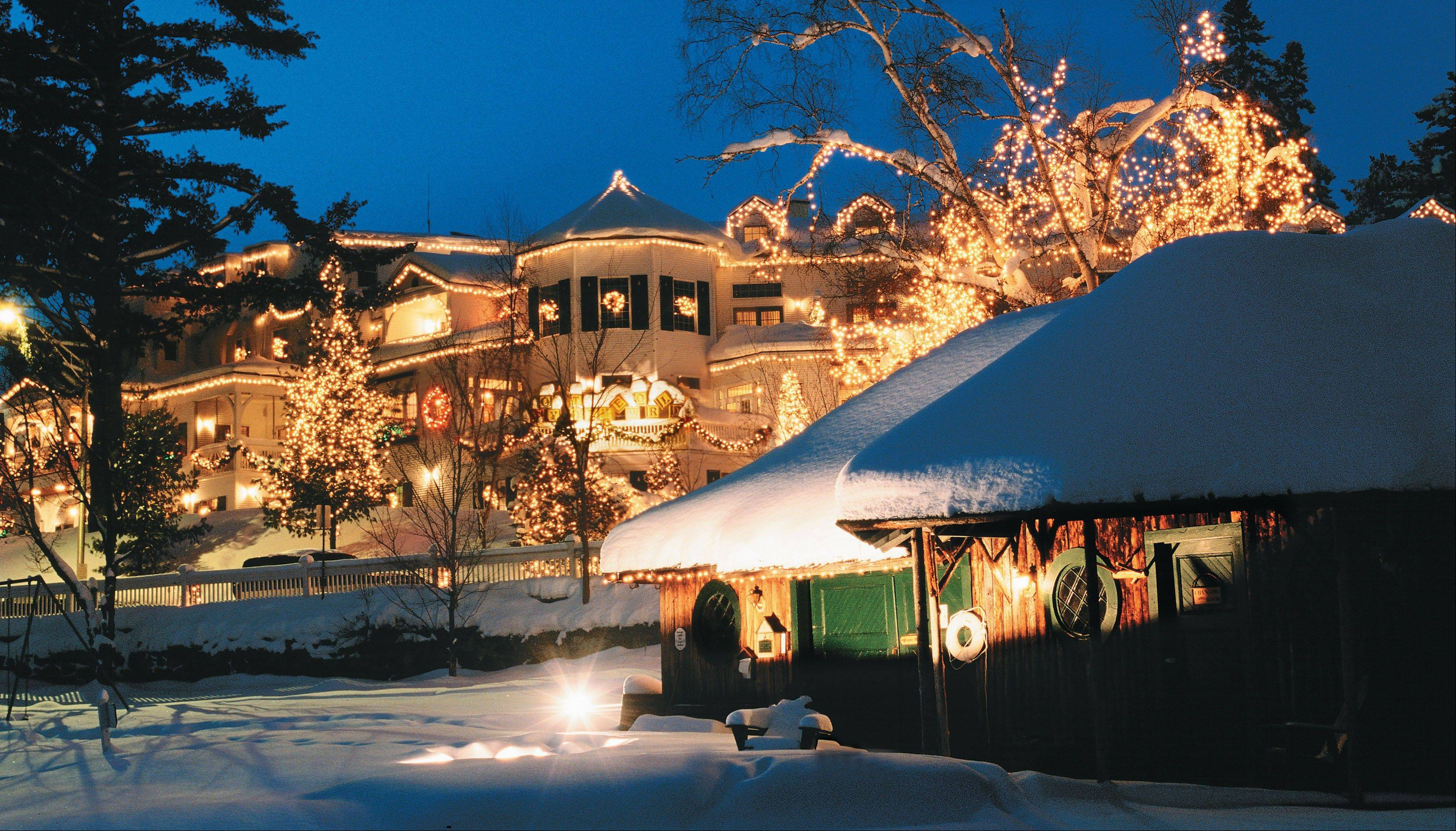 Mirror Lake Inn is decked out with holiday lights in Lake Placid, N.Y. The inn was founded in the 1920s as Mir-a-Lac, was renamed Mirror Lake Inn in 1933 and has been owned by Ed and Lisa Weibrecht since 1976.
