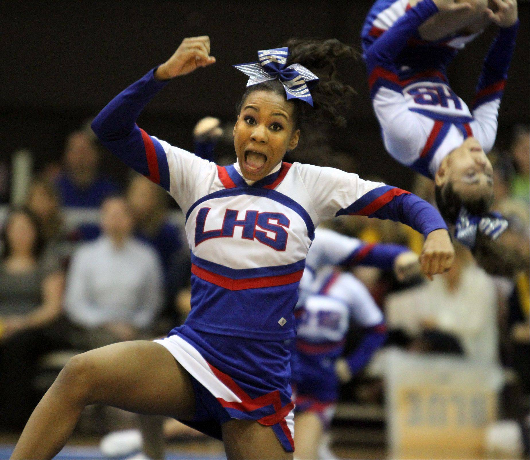 The Larkin High School cheerleading team performed at the IHSA competitive cheerleading sectionals held Saturday at Rolling Meadows High School.