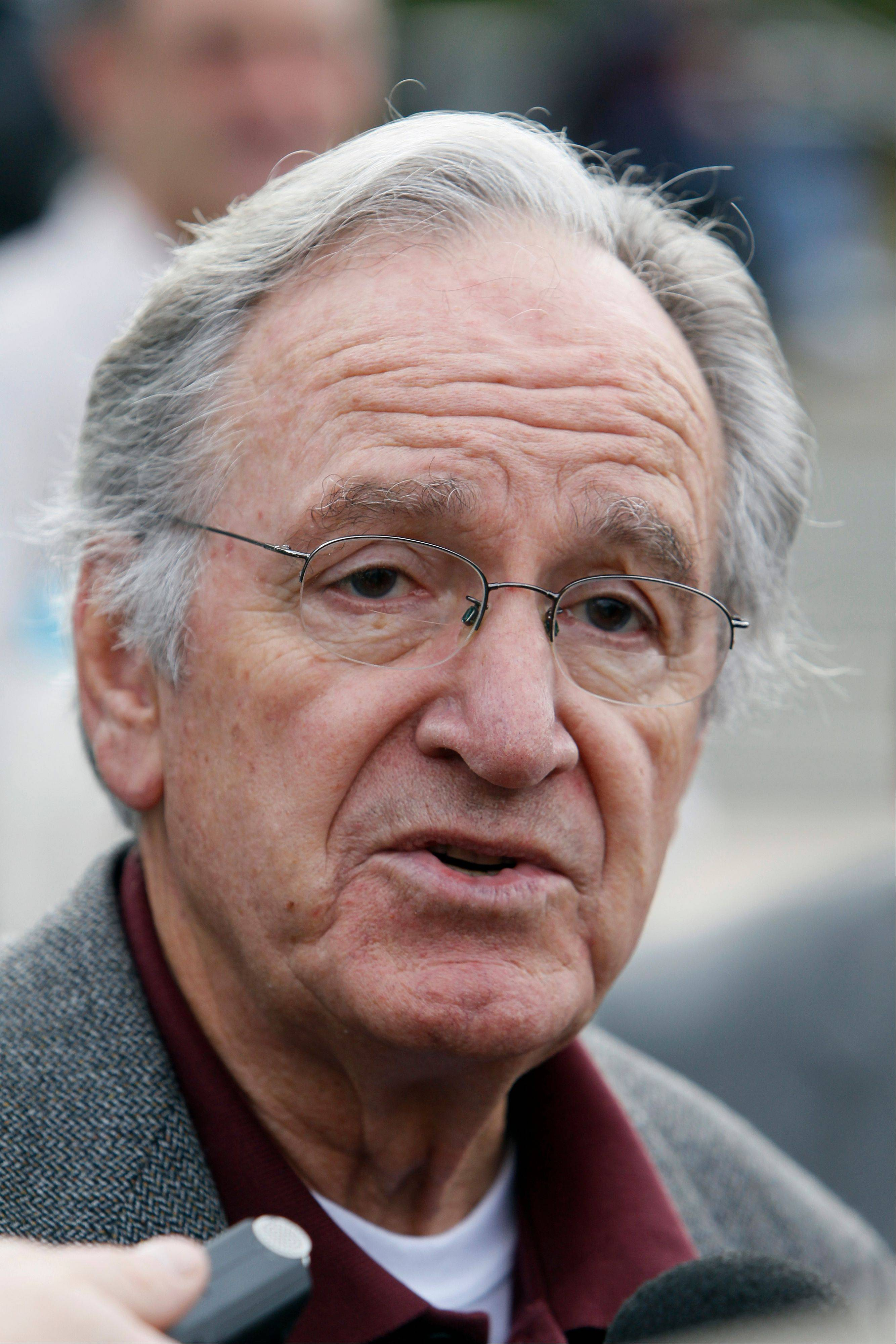 In this Monday, Oct. 25, 2010 photo, U.S. Sen. Tom Harkin, D-Iowa, speaks to reporters following a rally in support of three Iowa Supreme Court justices who are up for retention votes in the November election, in Des Moines, Iowa. Harkin says he will not seek re-election in 2014, The Associated Press reports Saturday, Jan. 26, 2013.