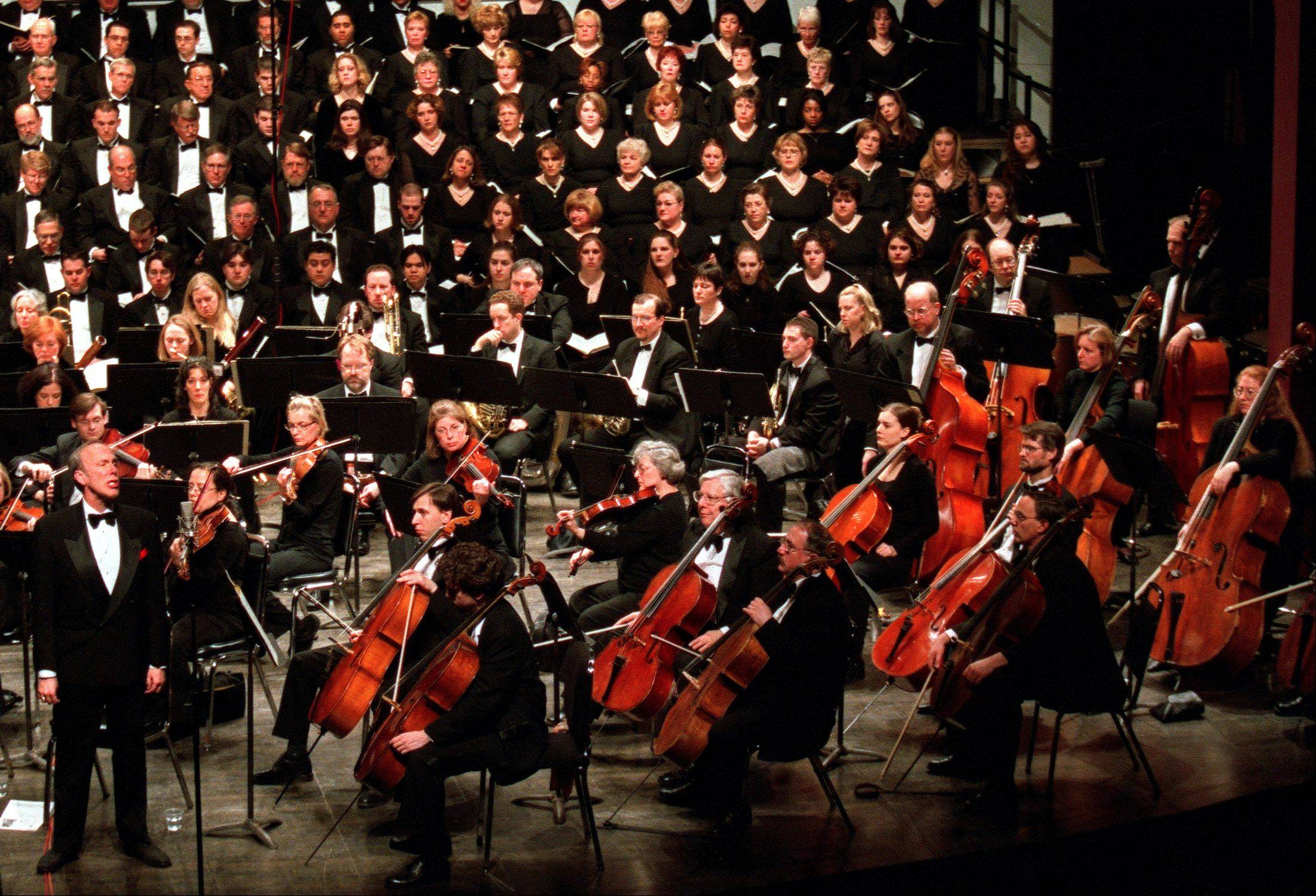 Soloist Robert Orth, far left, performs with the Elgin Symphony Orchestra and Elgin Choral Union.