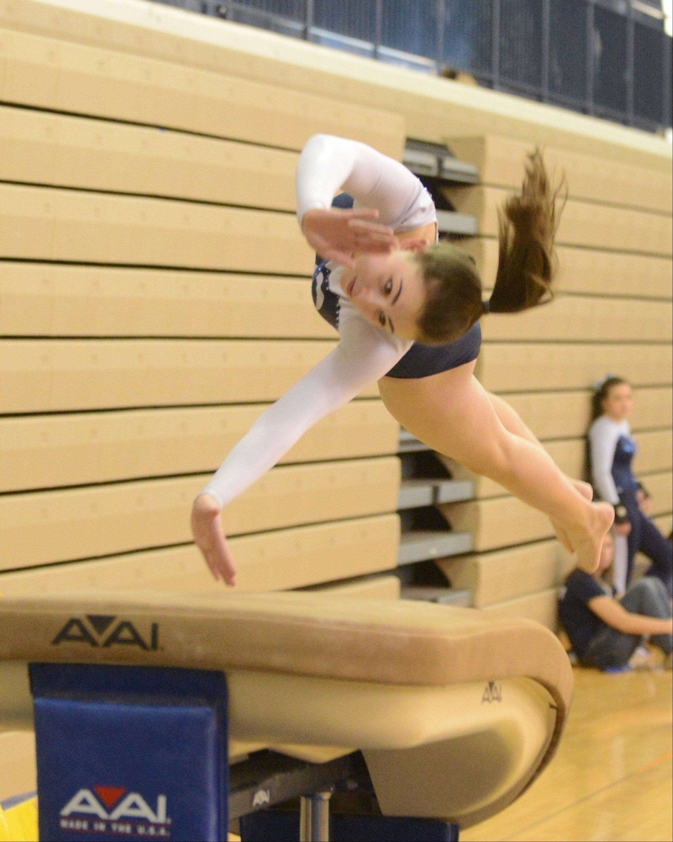 Linnae Capuder of ake Park on the vault during the Upstate Eight gymnastics meet at Lake Park East Saturday.