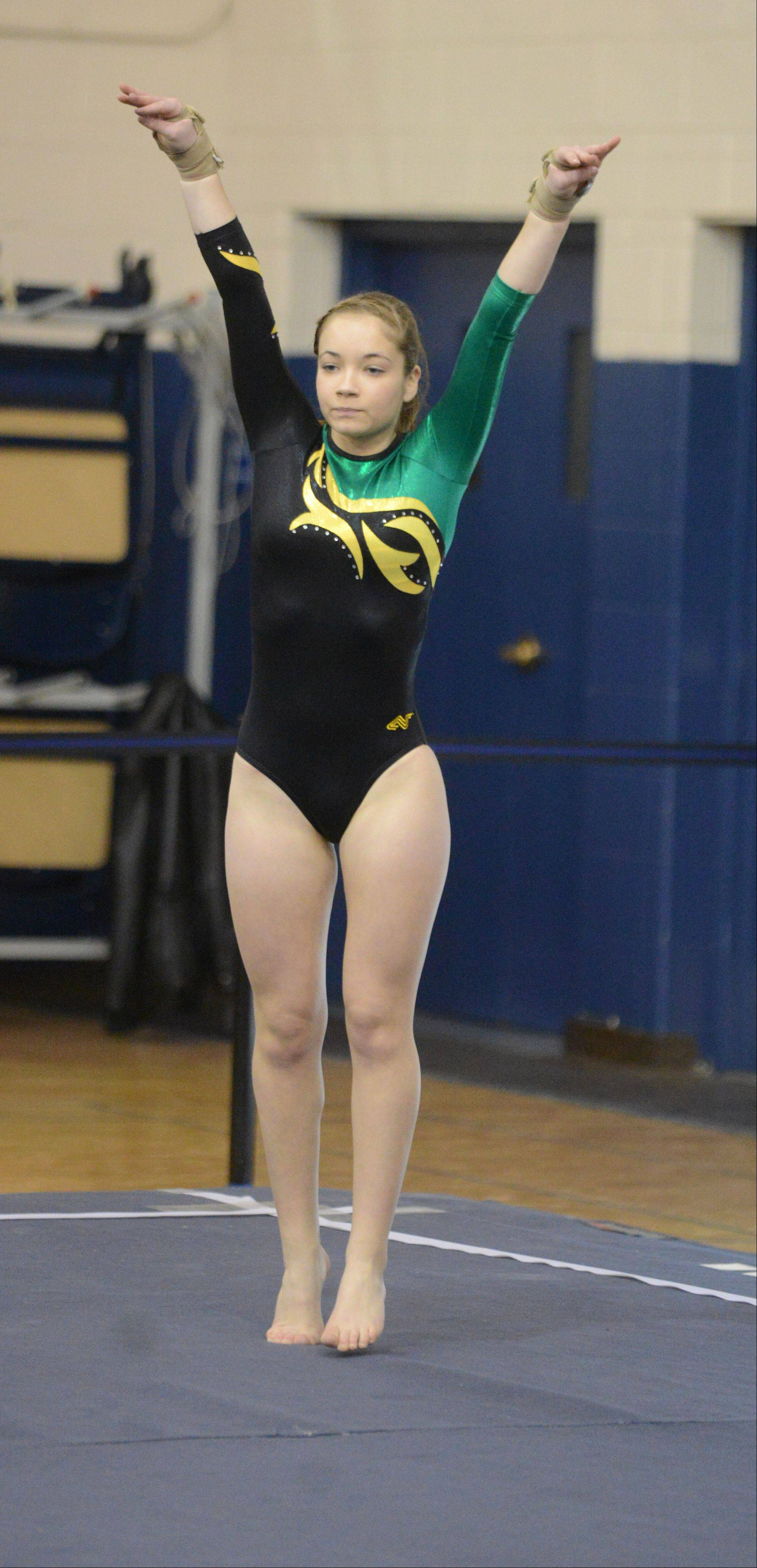 Michaela Valatkas of Metea Valley/Waubonsie Valley CO-OP competes on the floor during the Upstate Eight gymnastics meet at Lake Park East Saturday