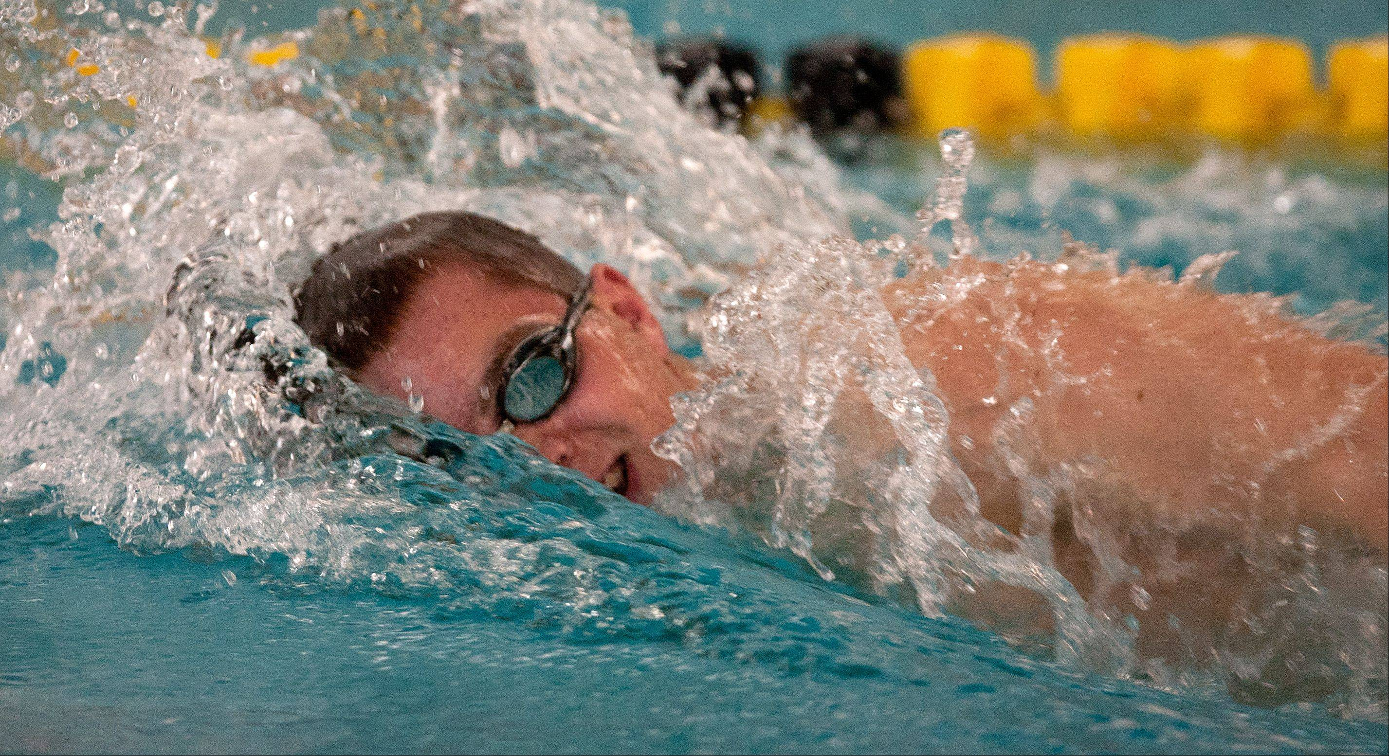 Adam Stacklin of Waubonsie Valley High School swims the 100 yard freestyle at the Mustang Swim and Dive Invite, hosted by Metea Valley High School.