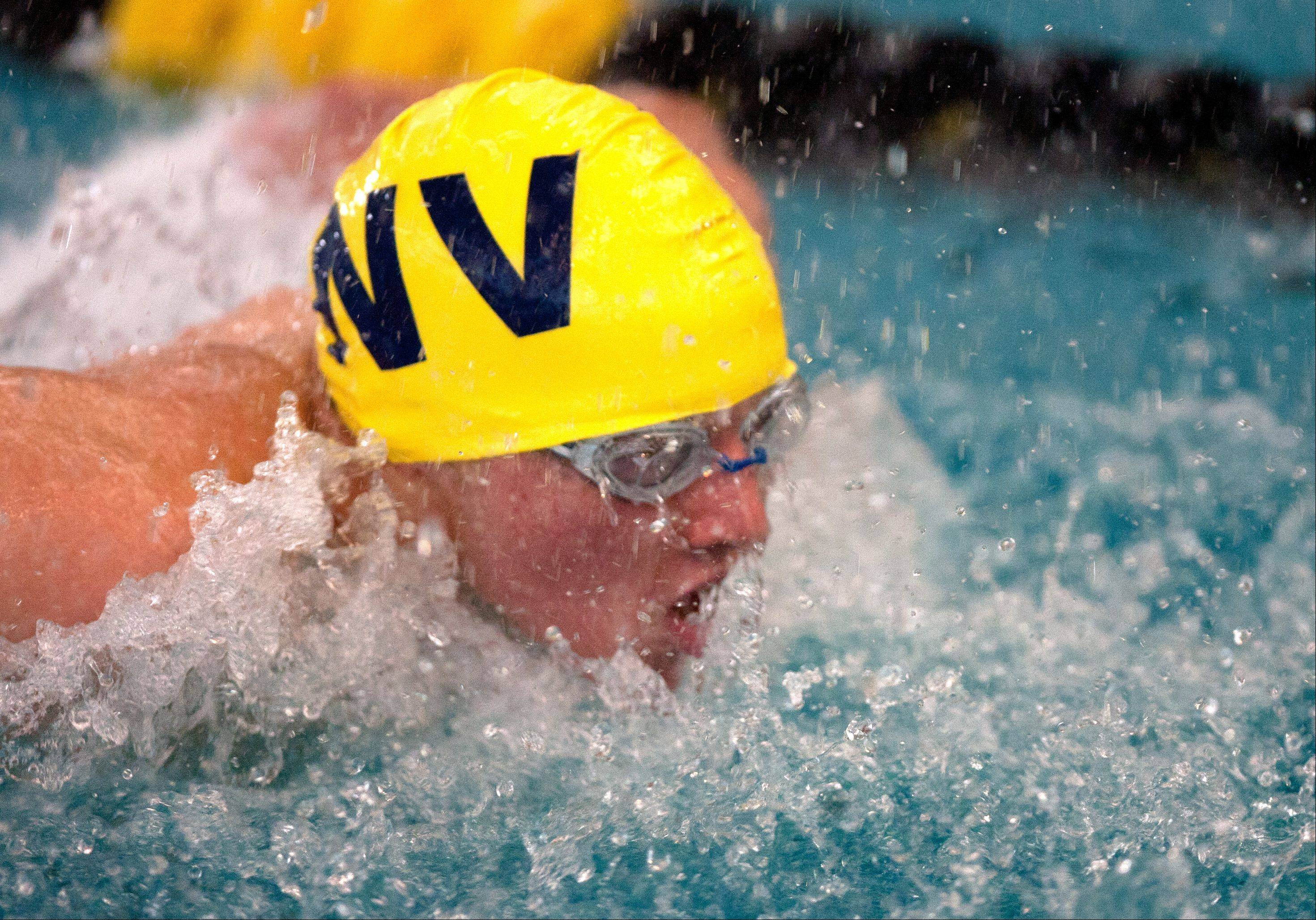 Brett Whaley of Neuqua Valley High School swims the 100 yard butterfly at the Mustang Swim and Dive Invite, hosted by Metea Valley High School.