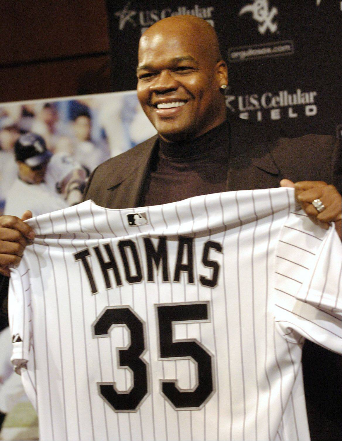 Frank Thomas, who retired following the 2008 season with a career .301 batting average, 2,468 hits, 521 home runs and 1,704 RBI, is eligible for the Hall of Fame next year.