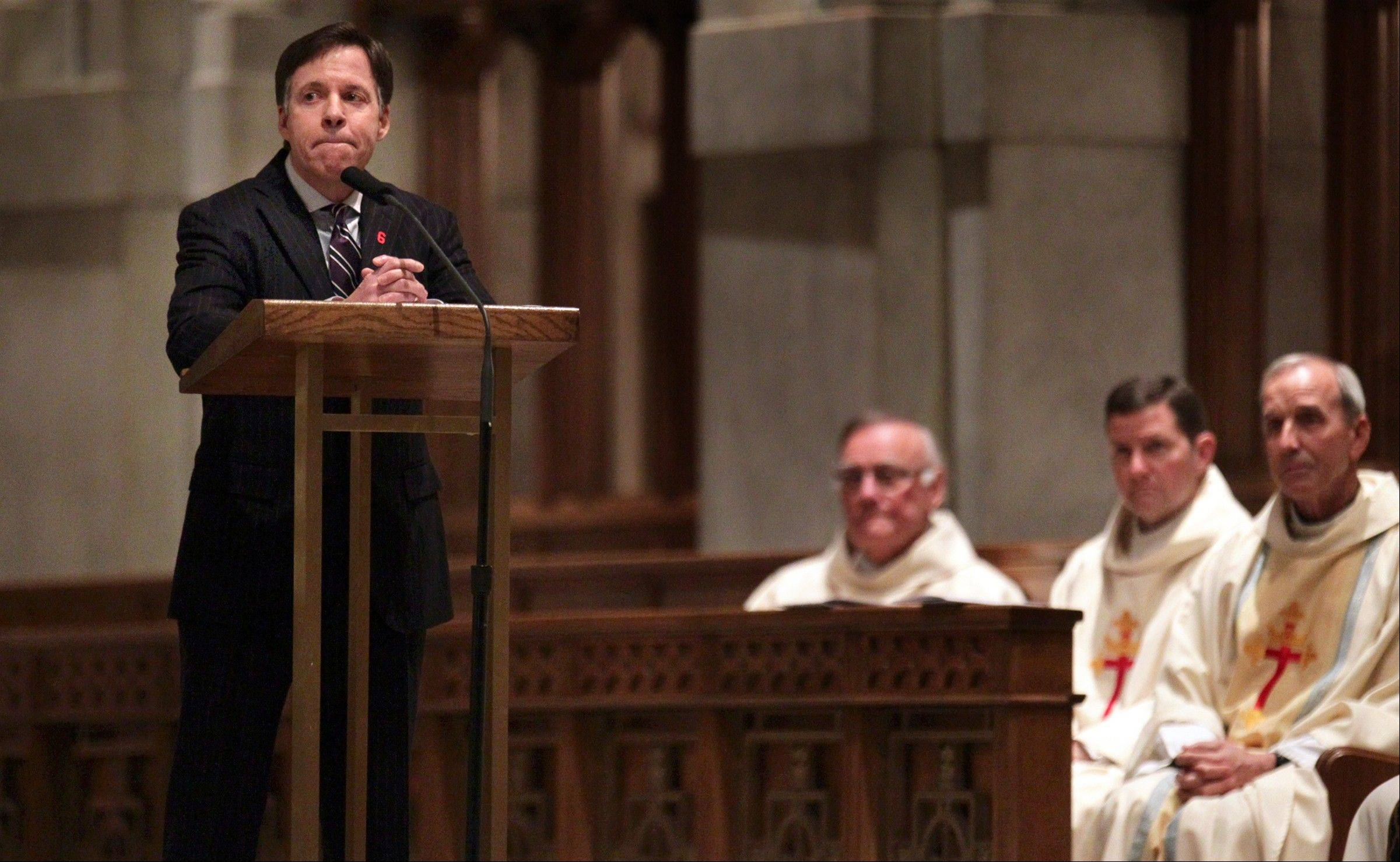 Broadcaster Bob Costas pauses during the funeral Mass for former St. Louis Cardinals baseball player Stan Musial at Cathedral Basilica on Saturday, Jan. 26, 2013, in St. Louis. Musial, who played with the St. Louis Cardinals for his entire 22-year- career, died Jan. 19. He was 92.