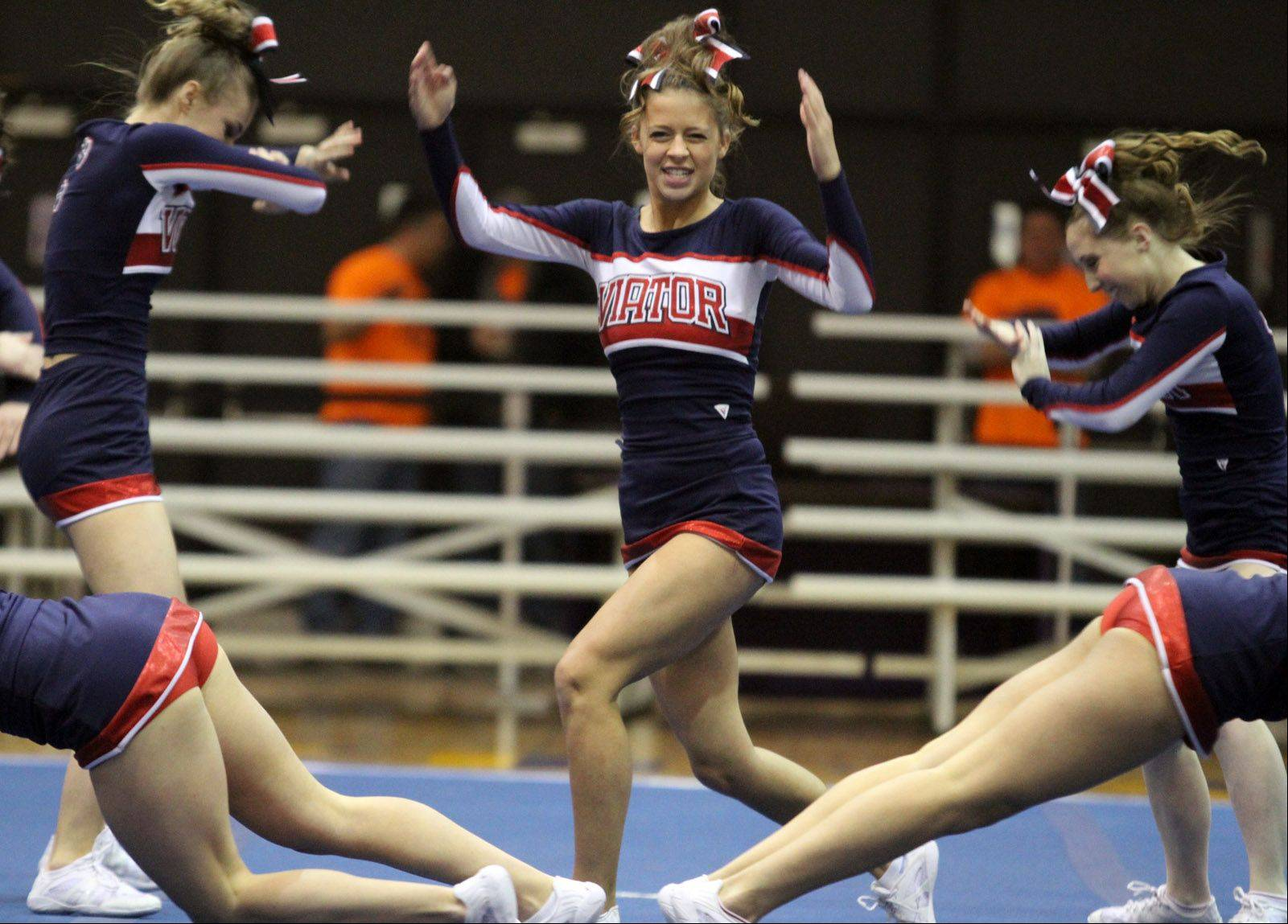 St. Viator High School performs at the IHSA competitive cheerleading sectionals in Rolling Meadows on Saturday.