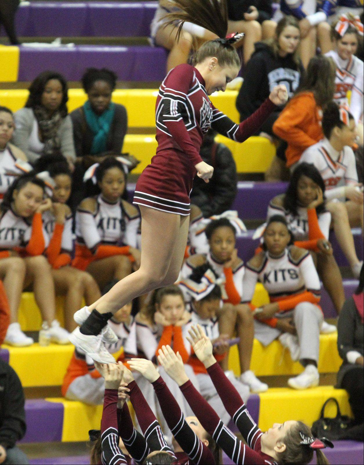 Elgin High School performs at the IHSA competitive cheerleading sectionals in Rolling Meadows on Saturday.
