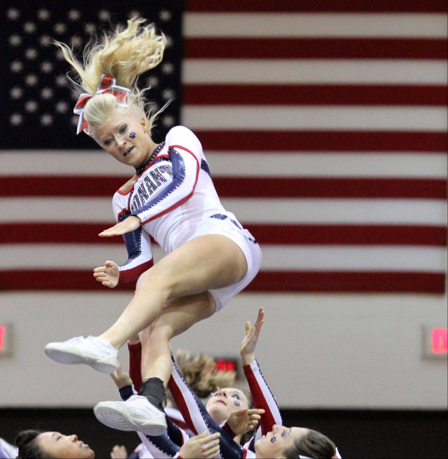 Conant High School performs at the IHSA competitive cheerleading sectionals in Rolling Meadows on Saturday.