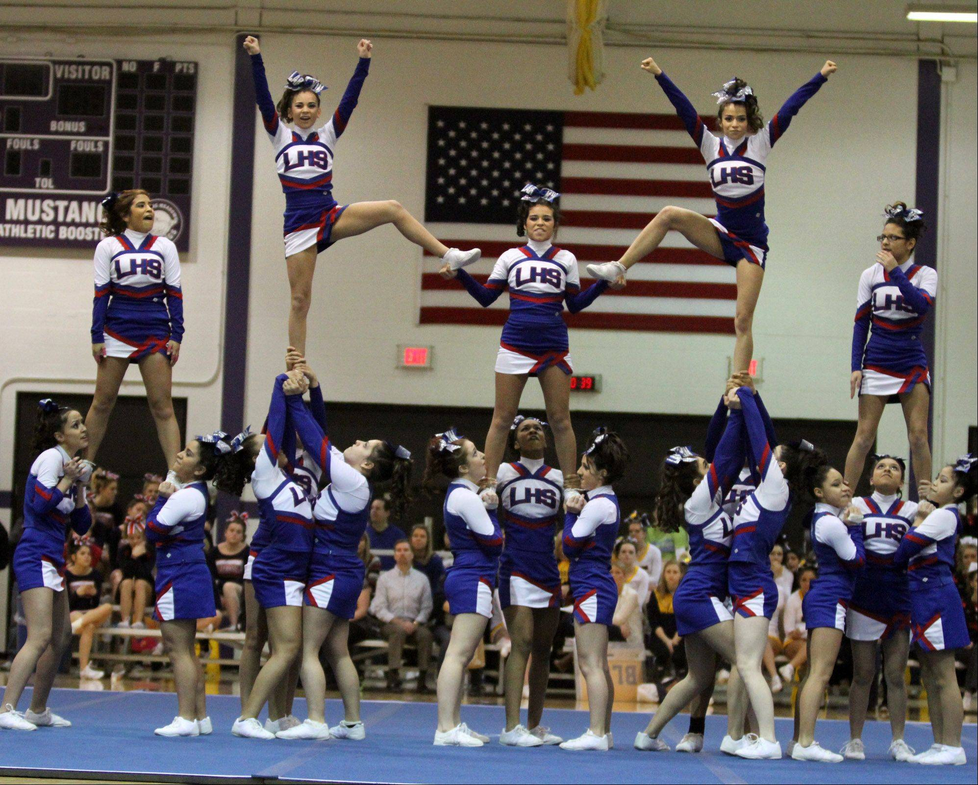Larkin High School performs at the IHSA competitive cheerleading sectionals in Rolling Meadows on Saturday.