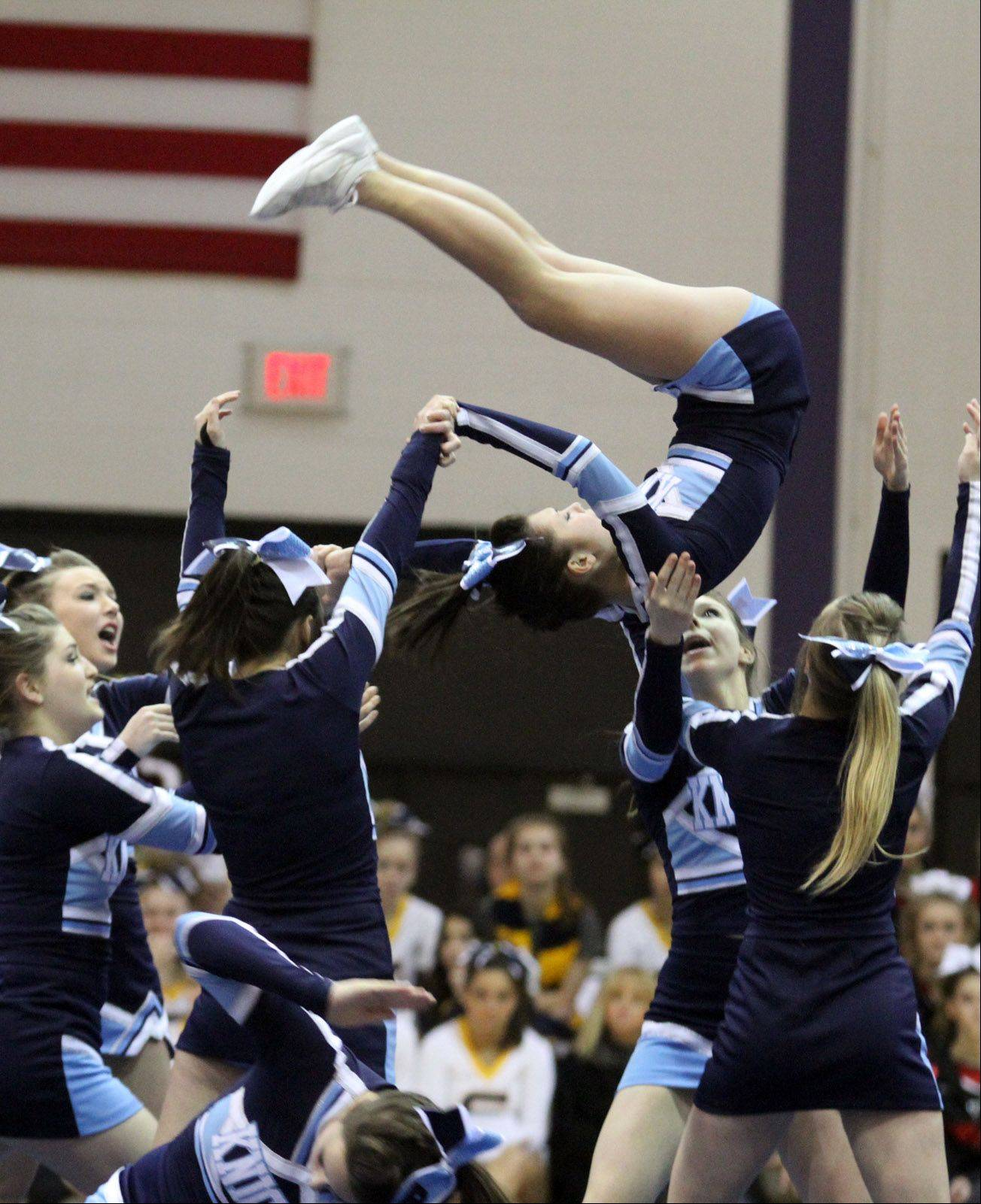 Prospect High School performs at the IHSA competitive cheerleading sectionals in Rolling Meadows on Saturday.