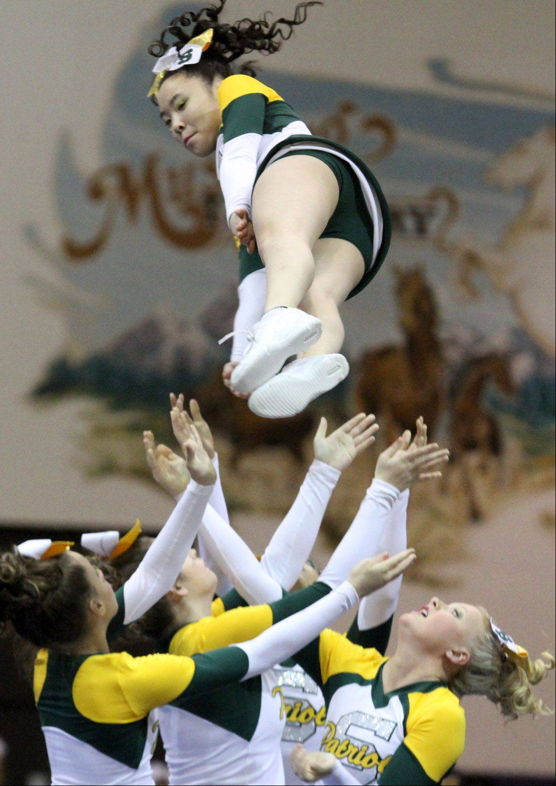 Stevenson High School performs at the IHSA competitive cheerleading sectionals in Rolling Meadows on Saturday.
