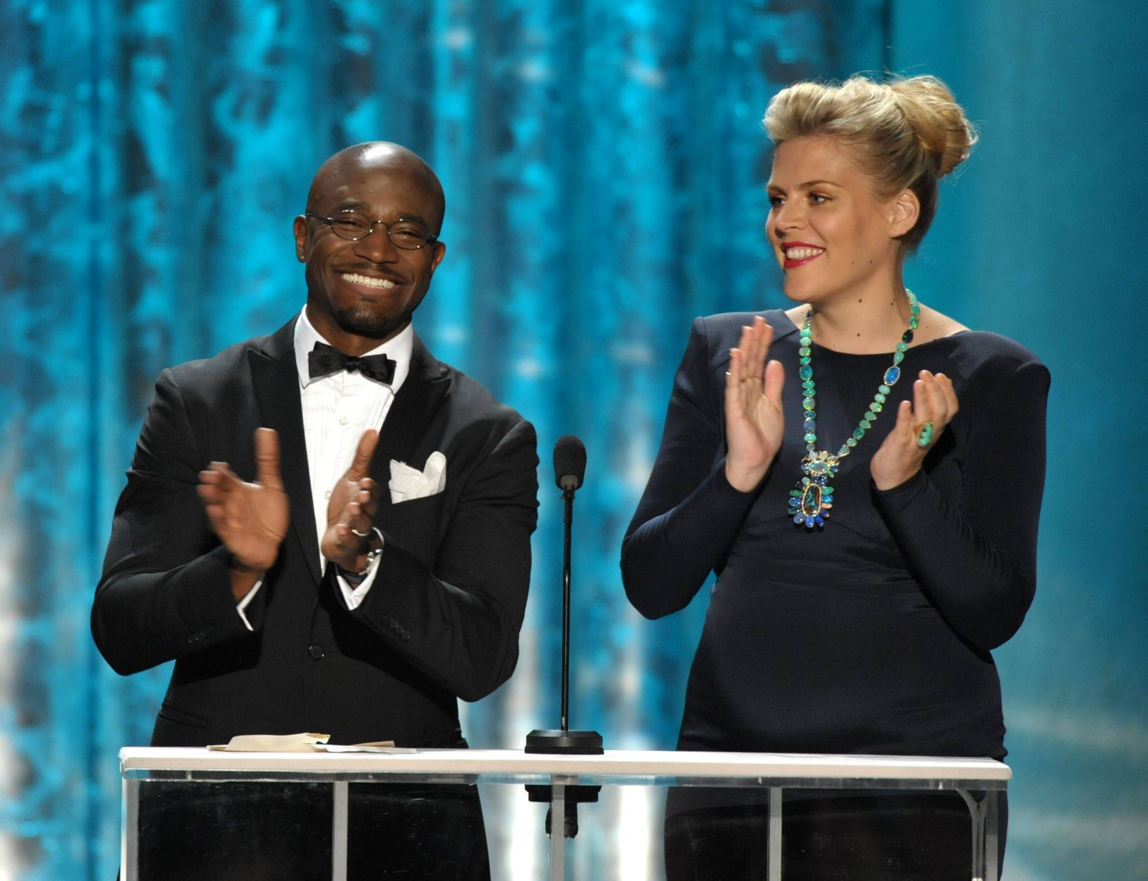 "For fans of ""Cougar Town"" this photo is extra special as Busy Phillips' character Laurie is kind of obsessed with Taye Diggs. And here they are. Presenting together."