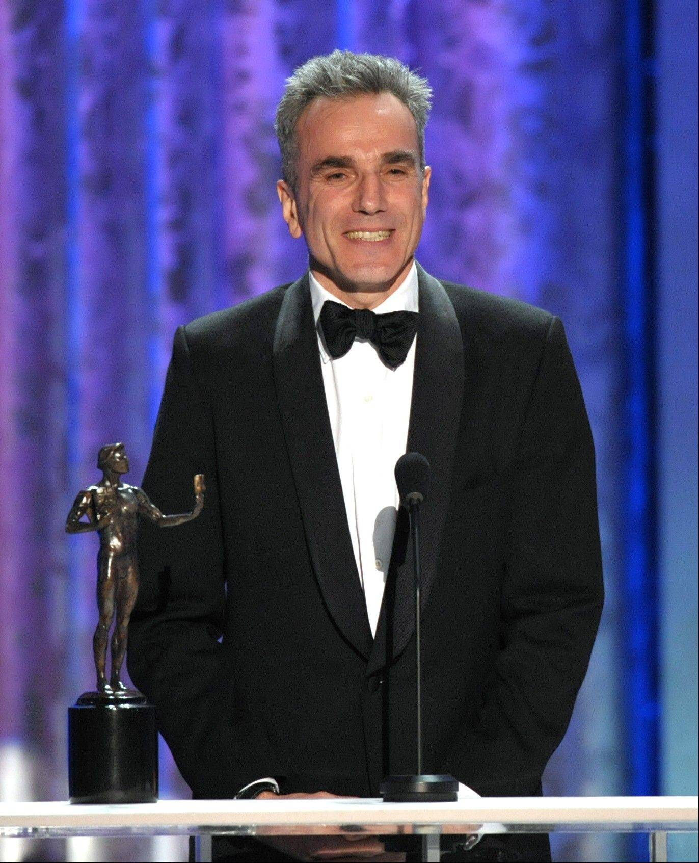 Daniel Day-Lewis accepts the awards for outstanding male actor in a leading role for �Lincoln� at the 19th Annual Screen Actors Guild Awards at the Shrine Auditorium in Los Angeles on Sunday Jan. 27, 2013.