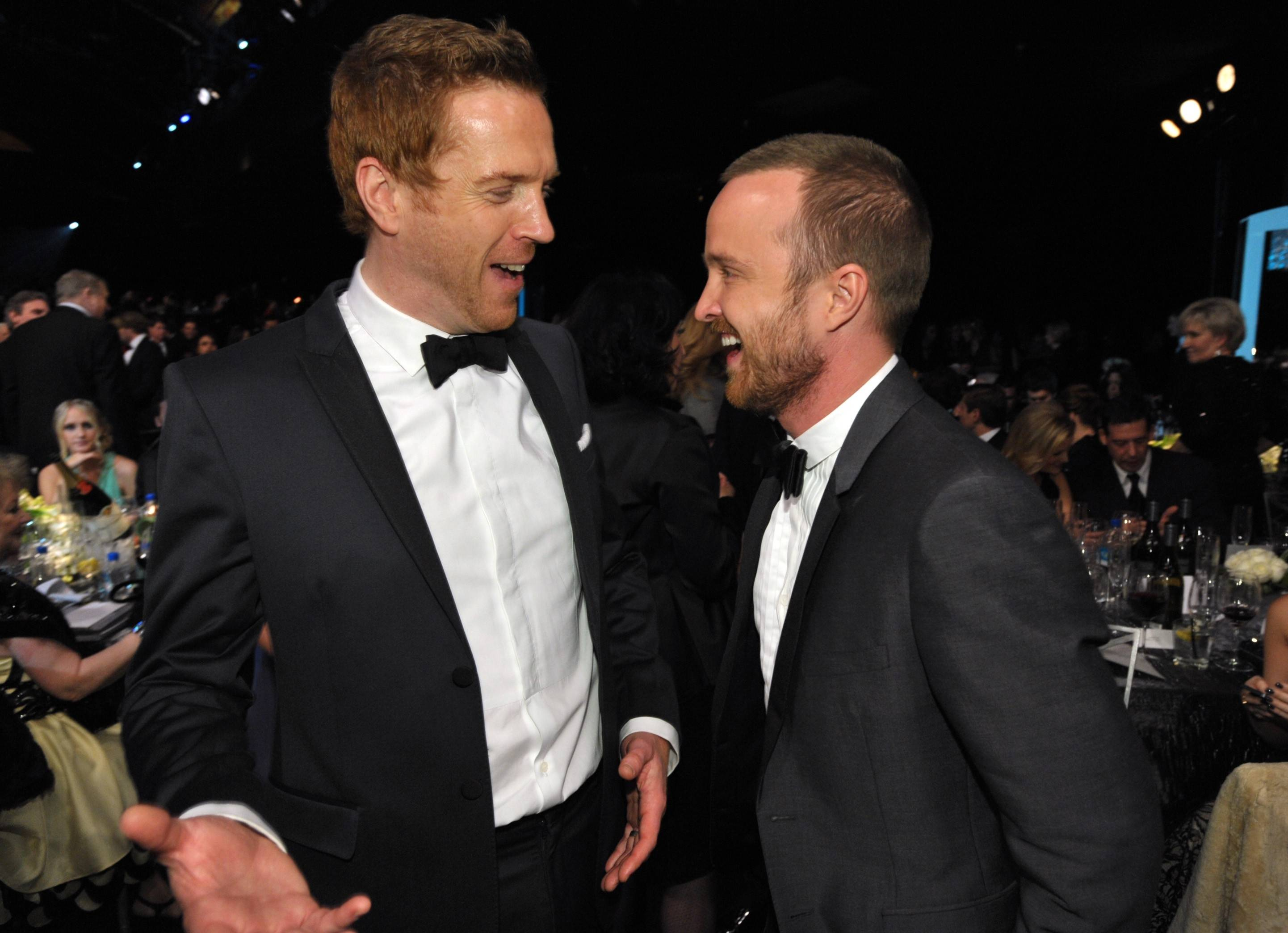 """Homeland"" star Damian Lewis has a laugh with ""Breaking Bad"" star Aaron Paul."