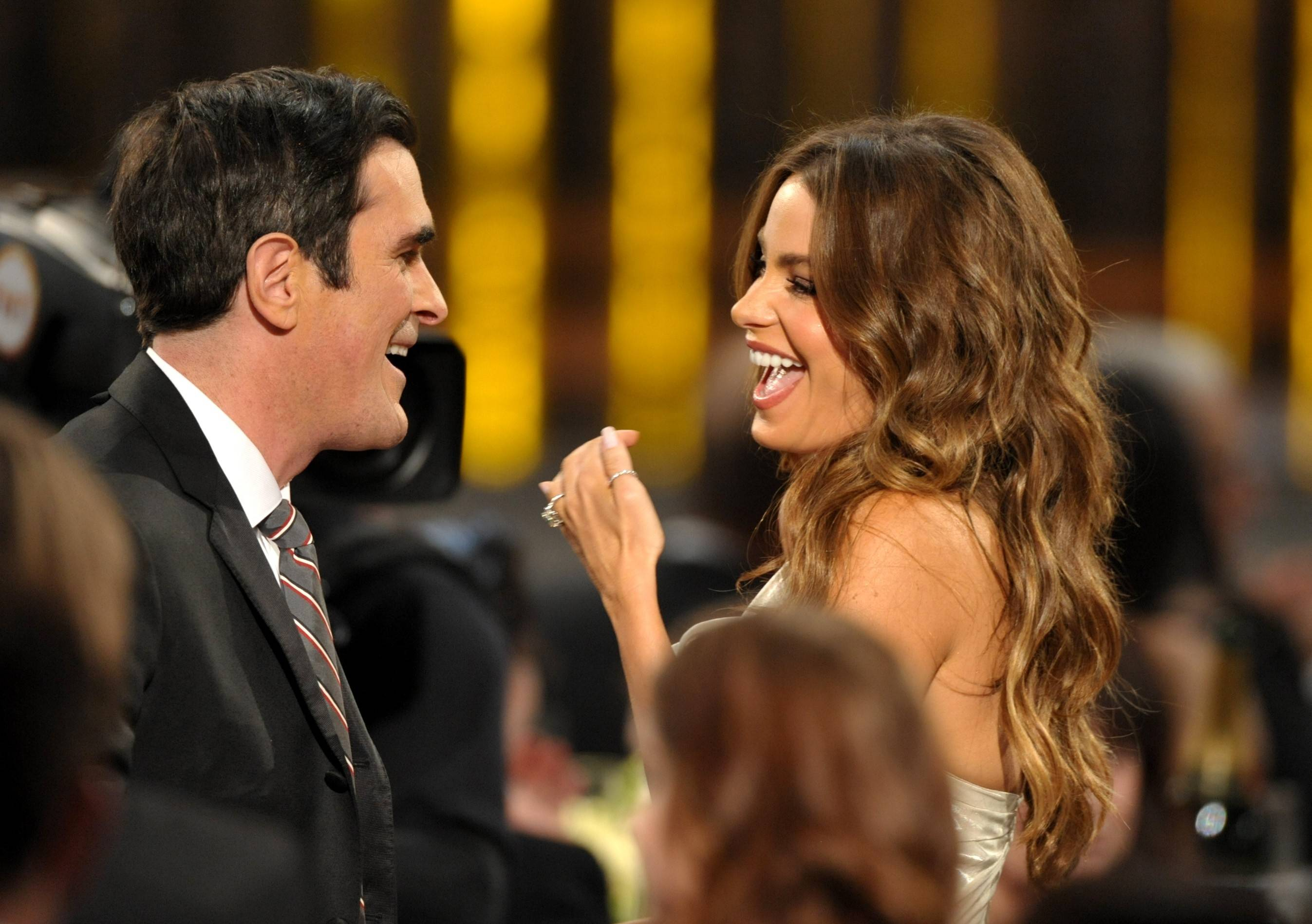 """Modern Family"" co-stars Ty Burell And Sofia Vergara have a little laugh at the SAG Awards. The show would go on to win for the entire ensemble."