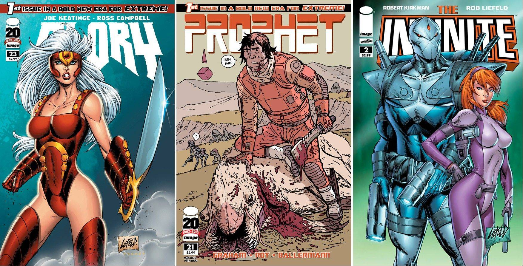 "Rob Liefeld's ""Glory,"" ""Prophet"" and ""The Infinite."" Illustrates COMICS (category e), by David Weigel (c) 2013, Slate."