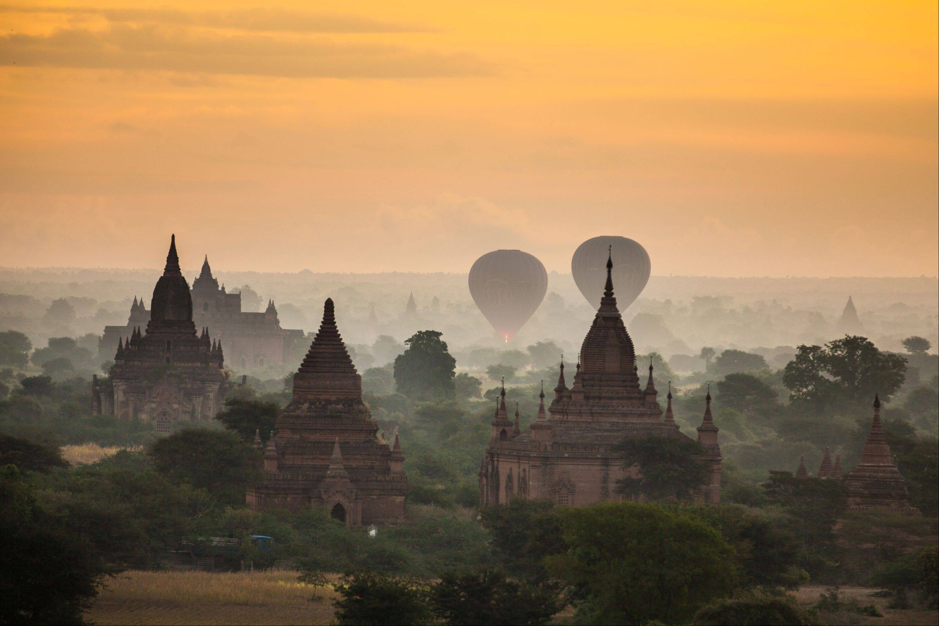 Agriculture and a few of the more than 2,200 Pagodas found in Bagan, Myanmar.