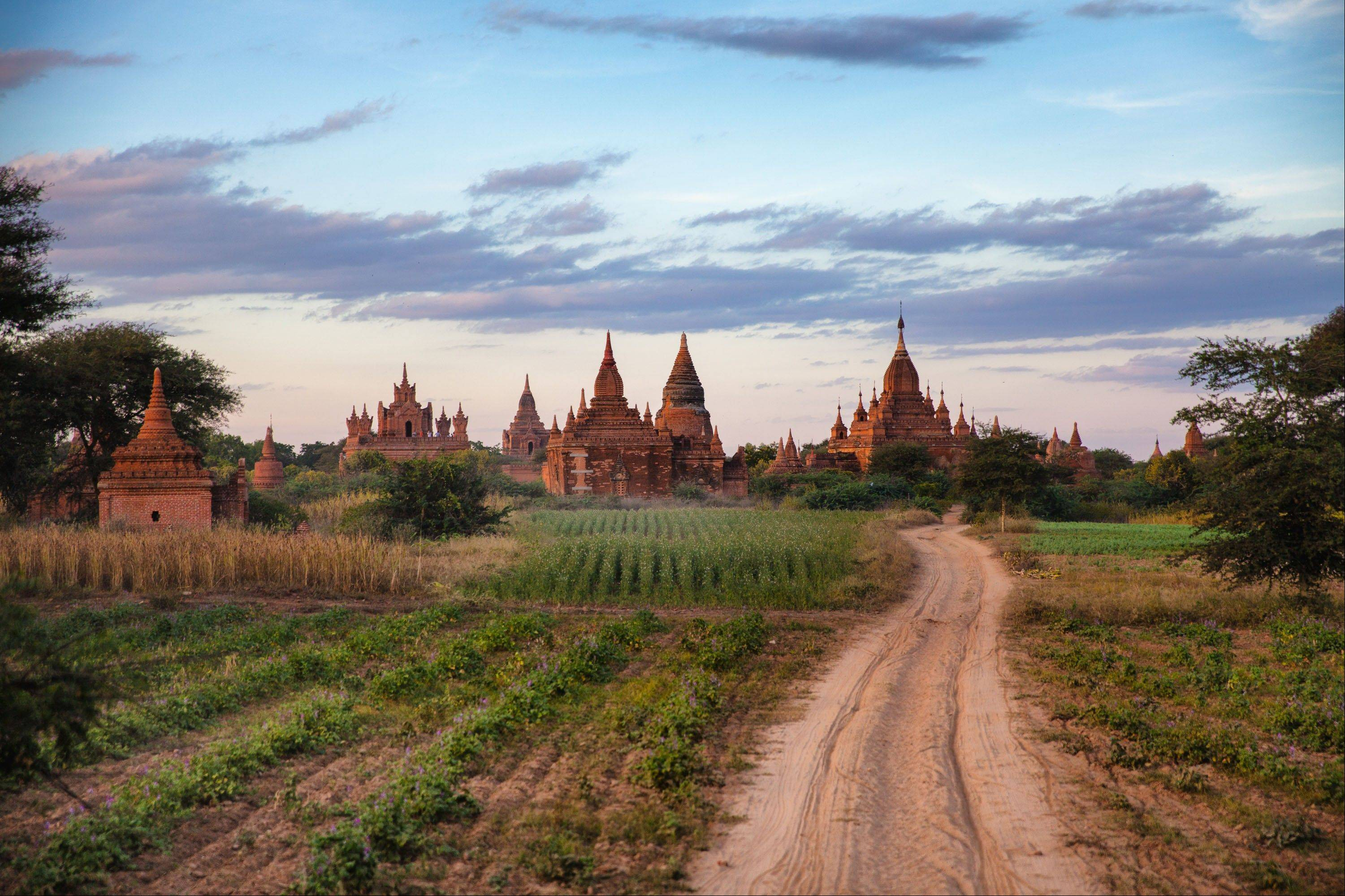 Some of the more than 2,200 Pagodas found in Bagan, Myanmar.