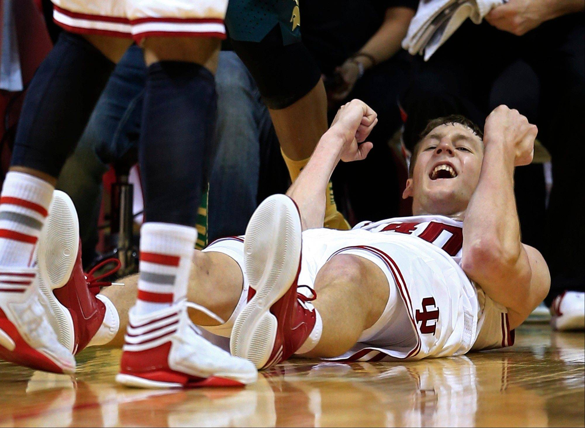 Indiana's Cody Zeller reacts after taking a charging foul late in the second half of an NCAA college basketball game against the Michigan State Sunday, Jan. 27, 2013, in Bloomington, Ind. Indiana defeated Michigan State 75-70.
