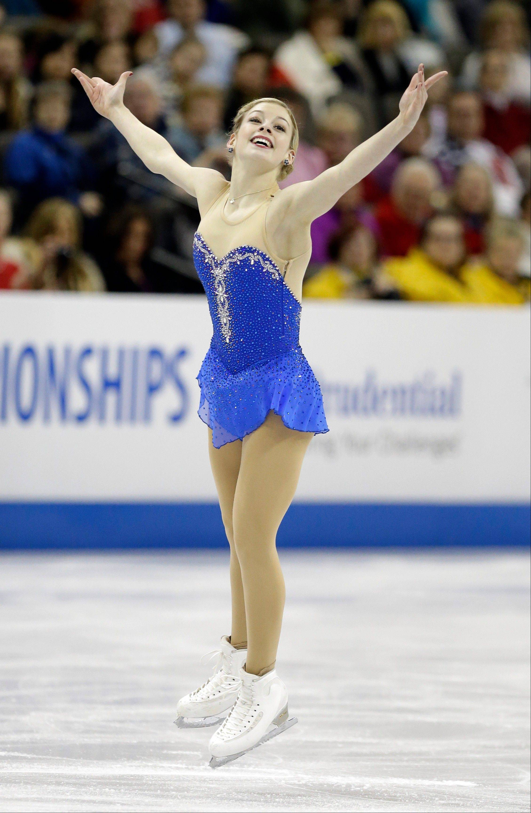 Gracie Gold of Elk Grove Village won the senior ladies free skate program at the U.S. figure skating championships, allowing her to finish second overall.