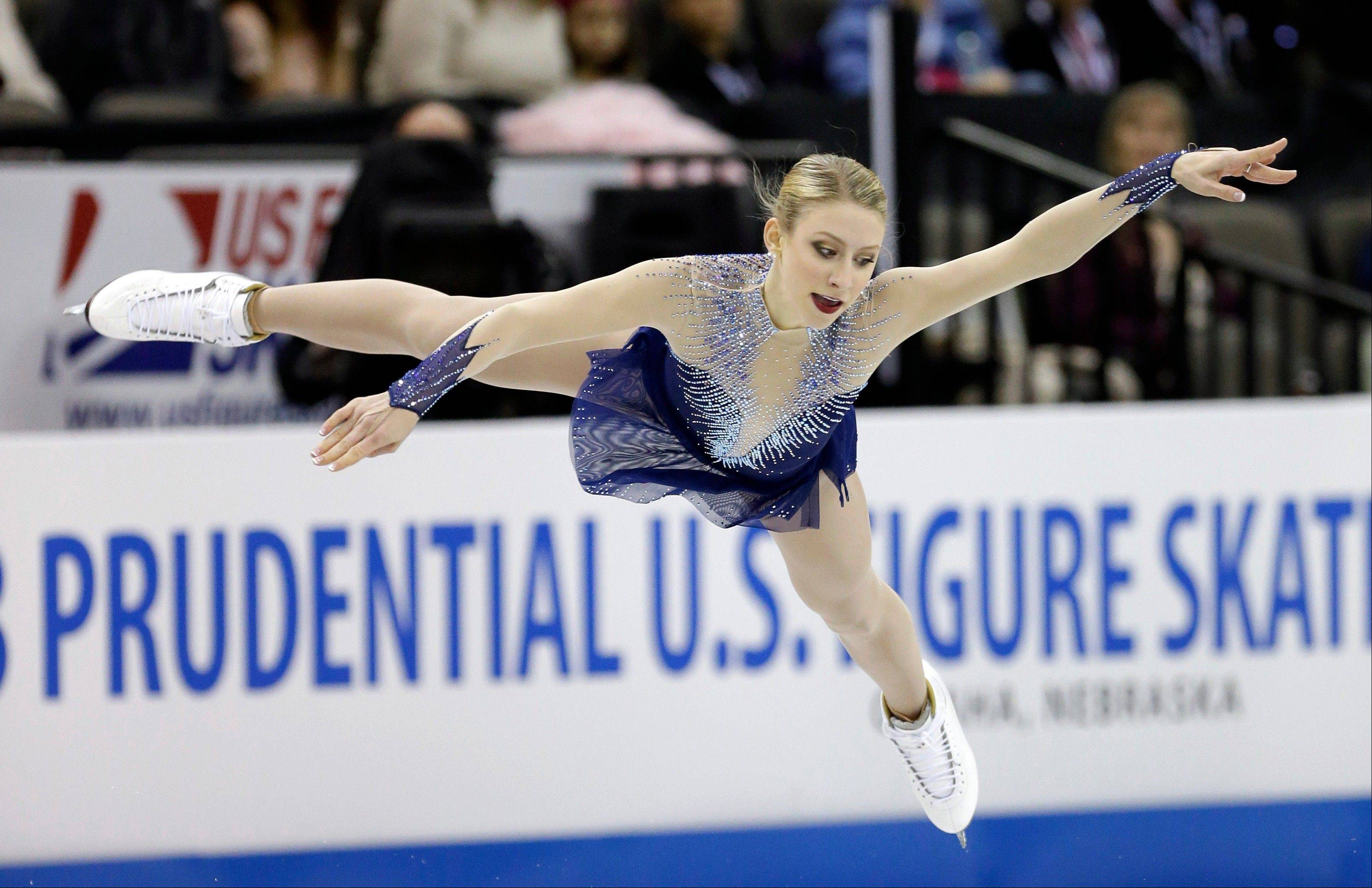 Agnes Zawadzki of Des Plaines competes during the senior ladies free skate program at the U.S. figure skating championships Saturday in Omaha, Neb. The Des Plaines native finished third after falling in the final routine.